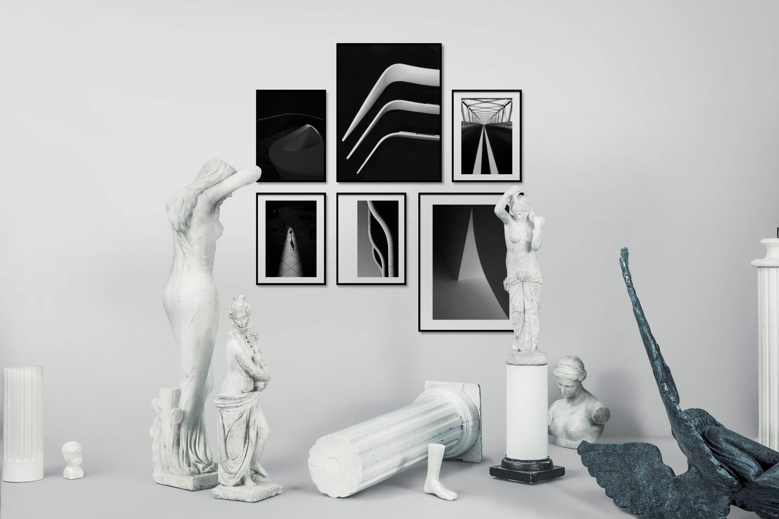 Gallery wall idea with six framed pictures arranged on a wall depicting Black & White, Dark Tones, For the Minimalist, For the Moderate, and City Life