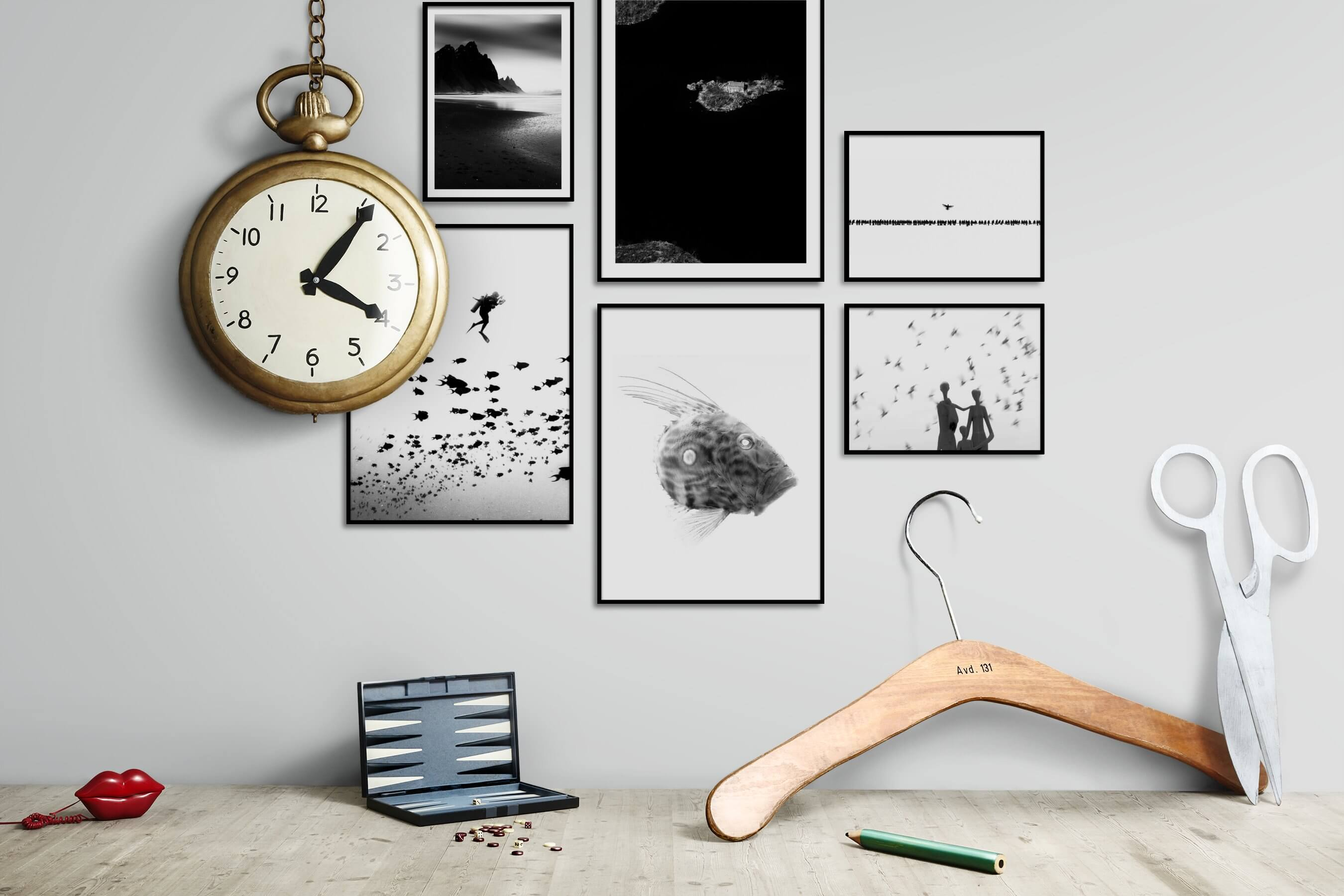 Gallery wall idea with six framed pictures arranged on a wall depicting Black & White, Beach & Water, For the Minimalist, Country Life, Bright Tones, Animals, and Artsy