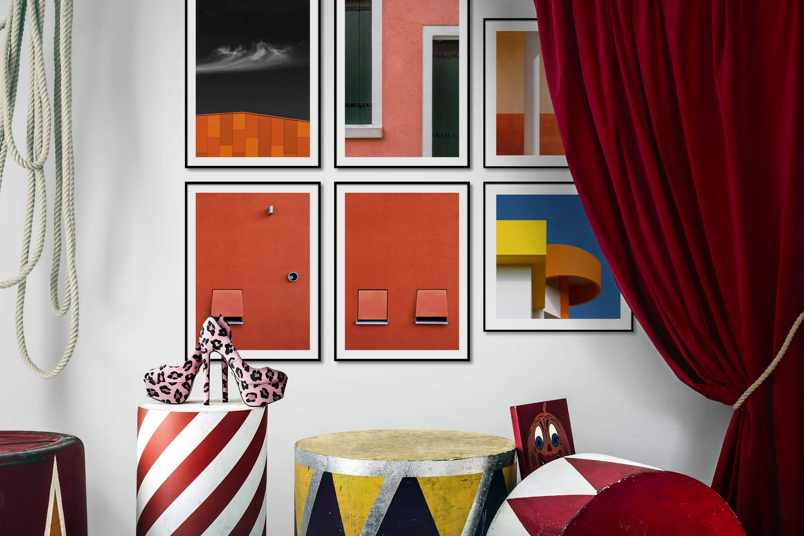 Gallery wall idea with six framed pictures arranged on a wall depicting For the Minimalist, For the Moderate, and City Life
