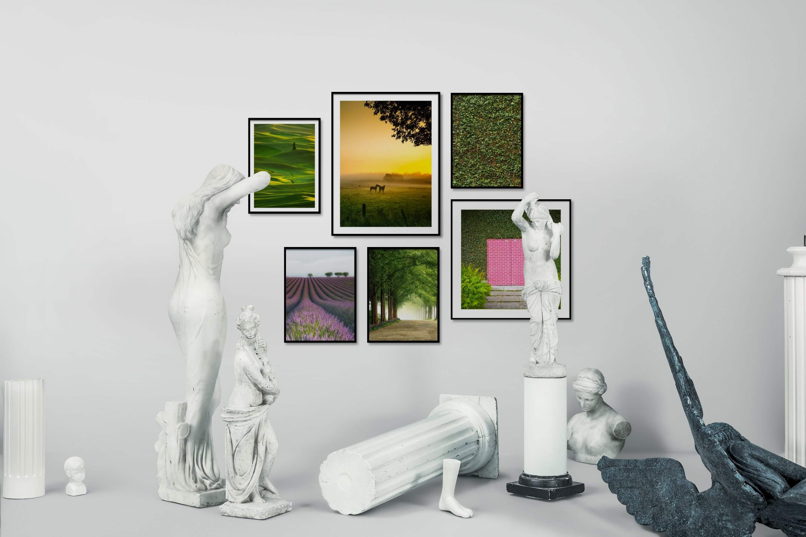 Gallery wall idea with six framed pictures arranged on a wall depicting For the Moderate, Country Life, Animals, For the Maximalist, and Flowers & Plants