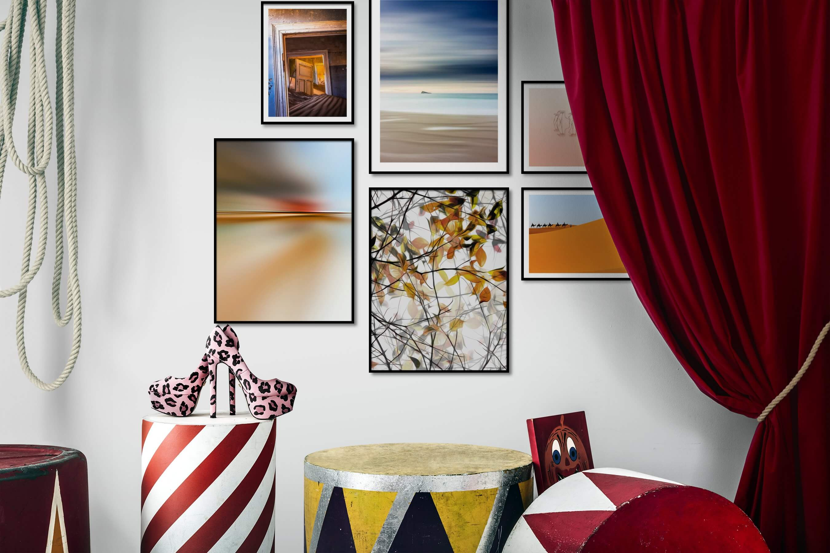 Gallery wall idea with six framed pictures arranged on a wall depicting Vintage, Beach & Water, For the Minimalist, For the Moderate, Flowers & Plants, Animals, and Nature
