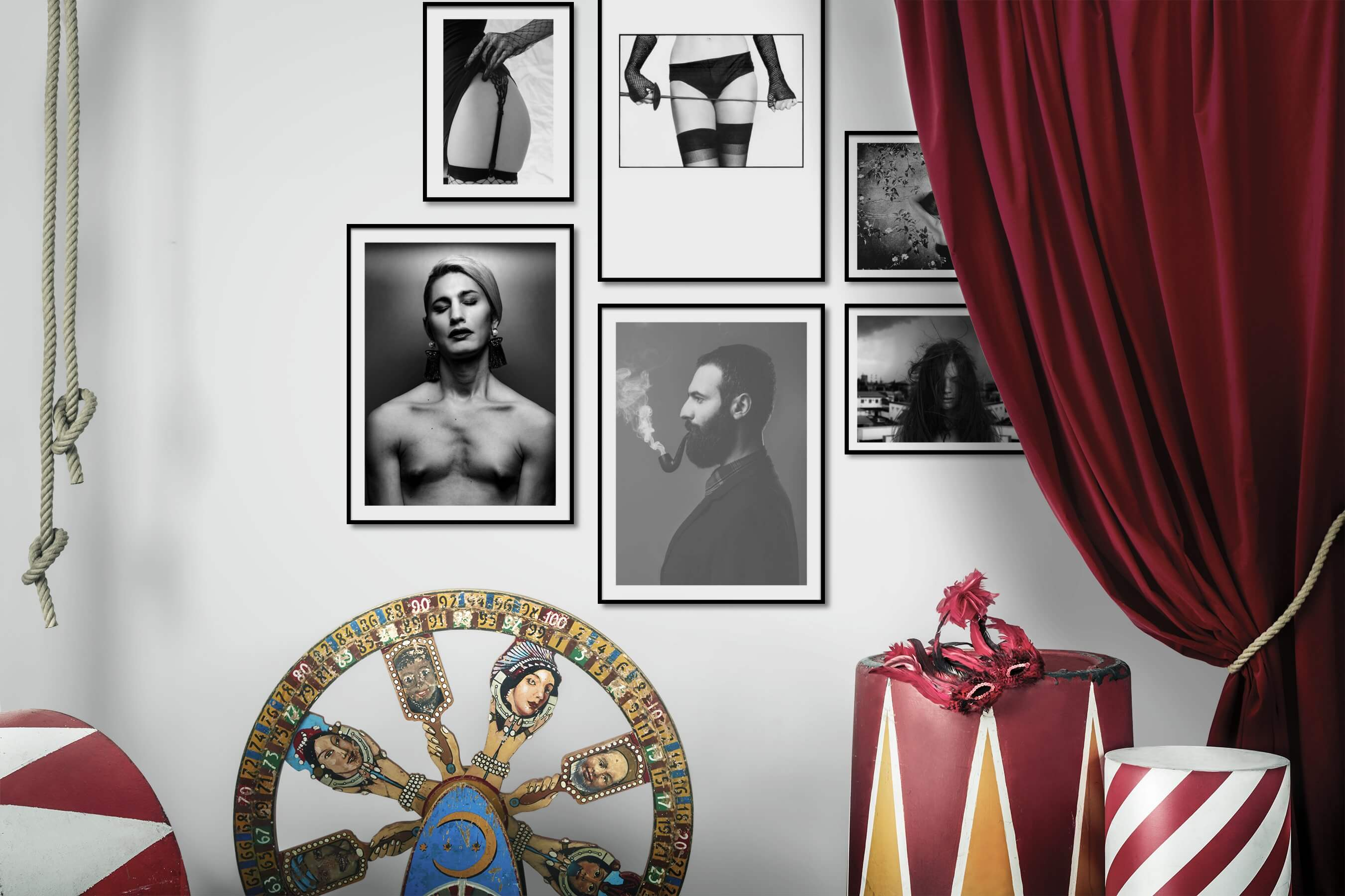 Gallery wall idea with six framed pictures arranged on a wall depicting Fashion & Beauty, Black & White, Bold, and City Life