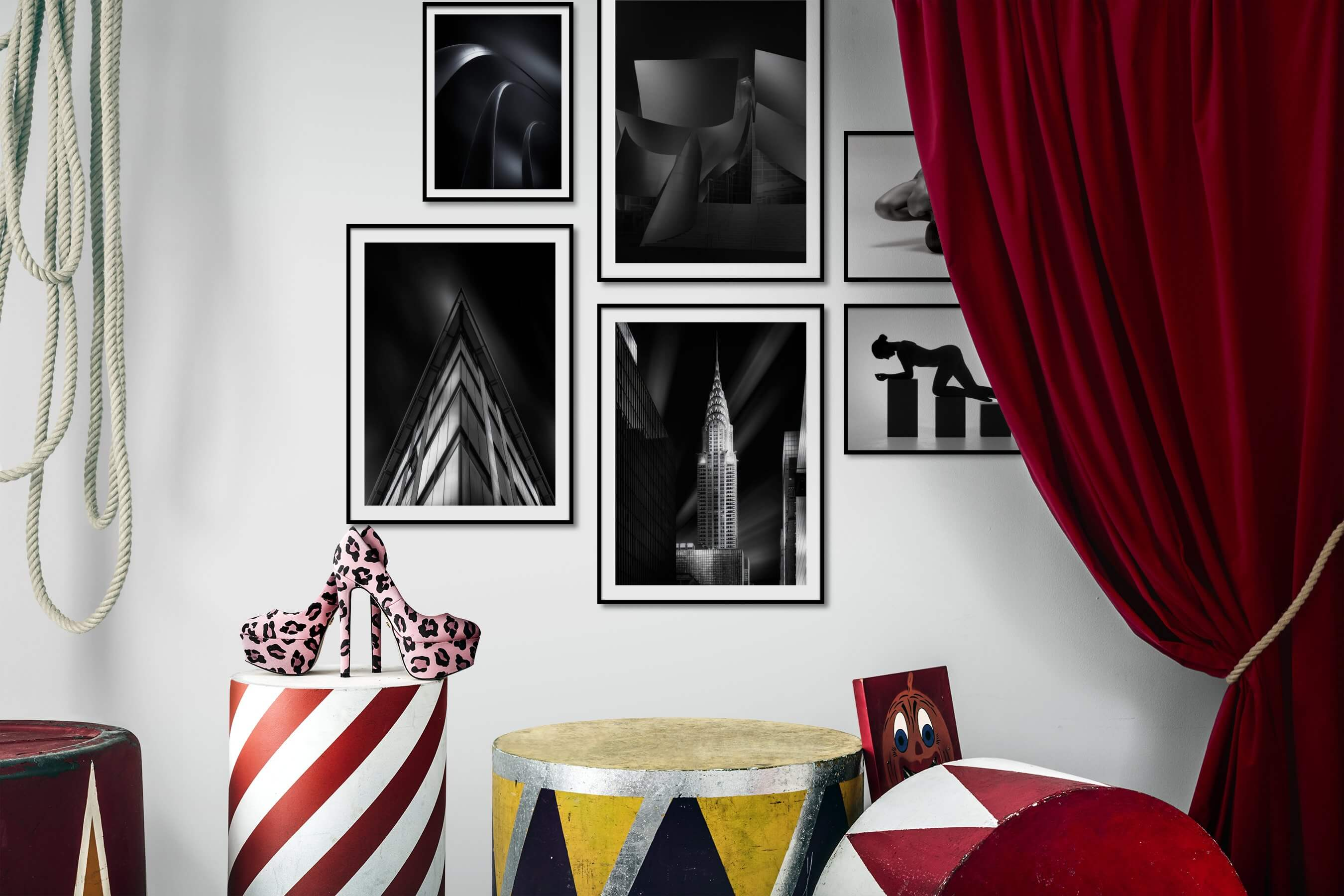 Gallery wall idea with six framed pictures arranged on a wall depicting Black & White, For the Minimalist, For the Moderate, City Life, Americana, Fashion & Beauty, Bright Tones, Mindfulness, and Artsy