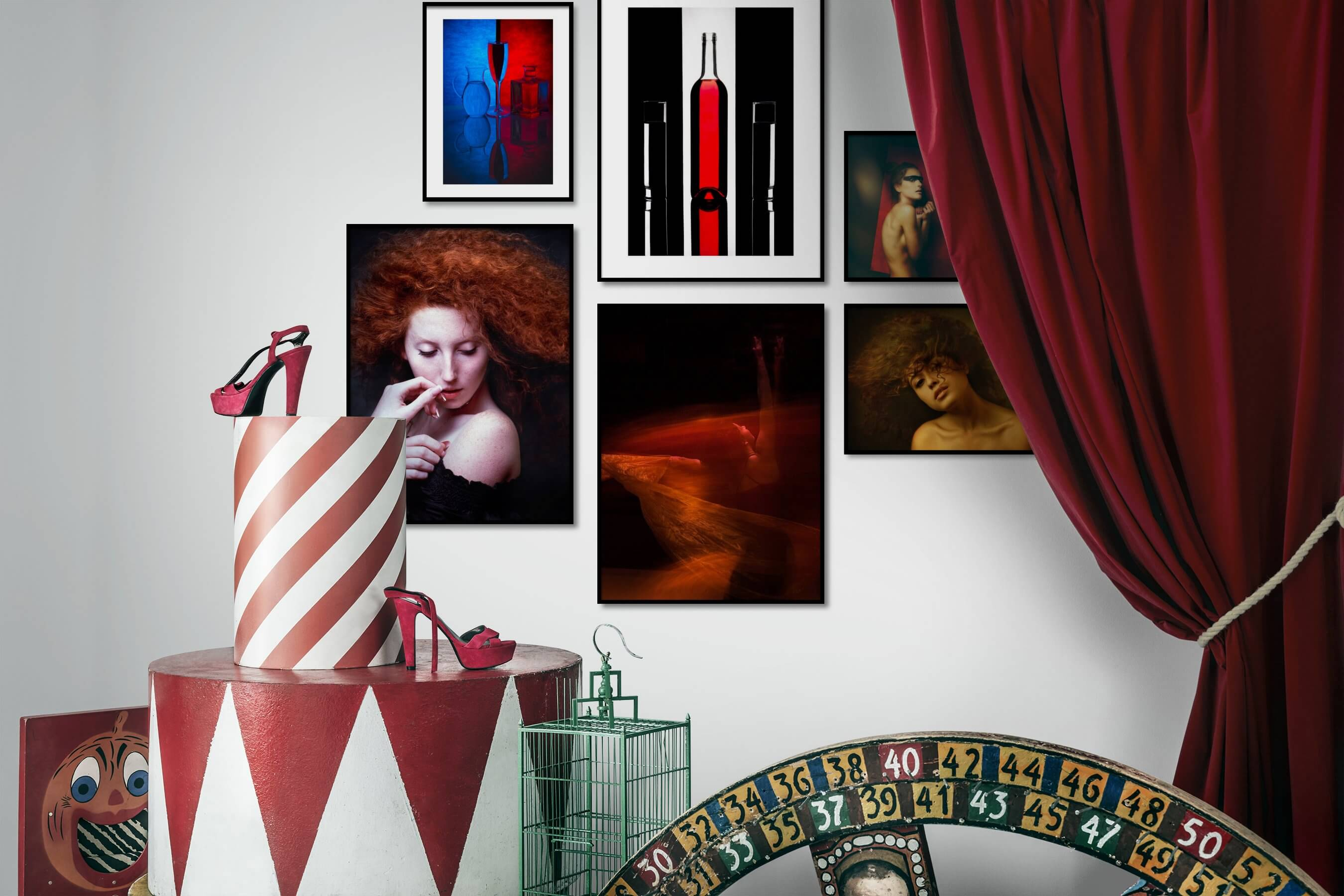 Gallery wall idea with six framed pictures arranged on a wall depicting Colorful, For the Maximalist, Fashion & Beauty, Dark Tones, and For the Moderate