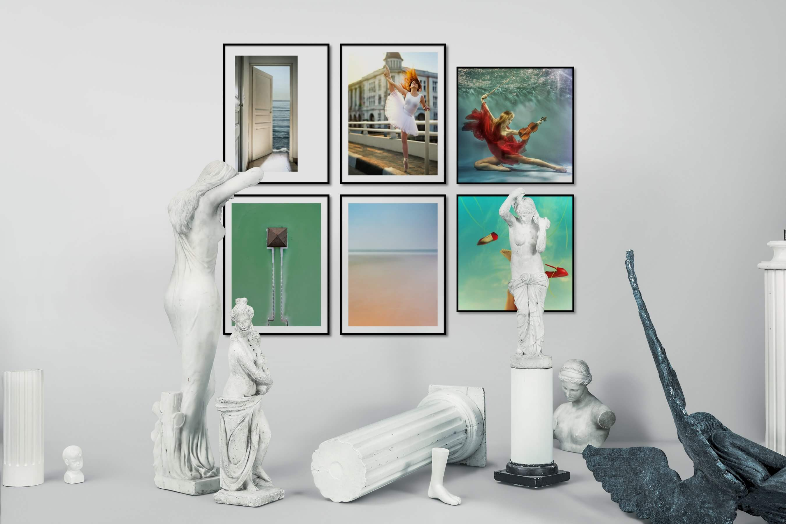 Gallery wall idea with six framed pictures arranged on a wall depicting Artsy, Beach & Water, Fashion & Beauty, City Life, For the Minimalist, and Vintage