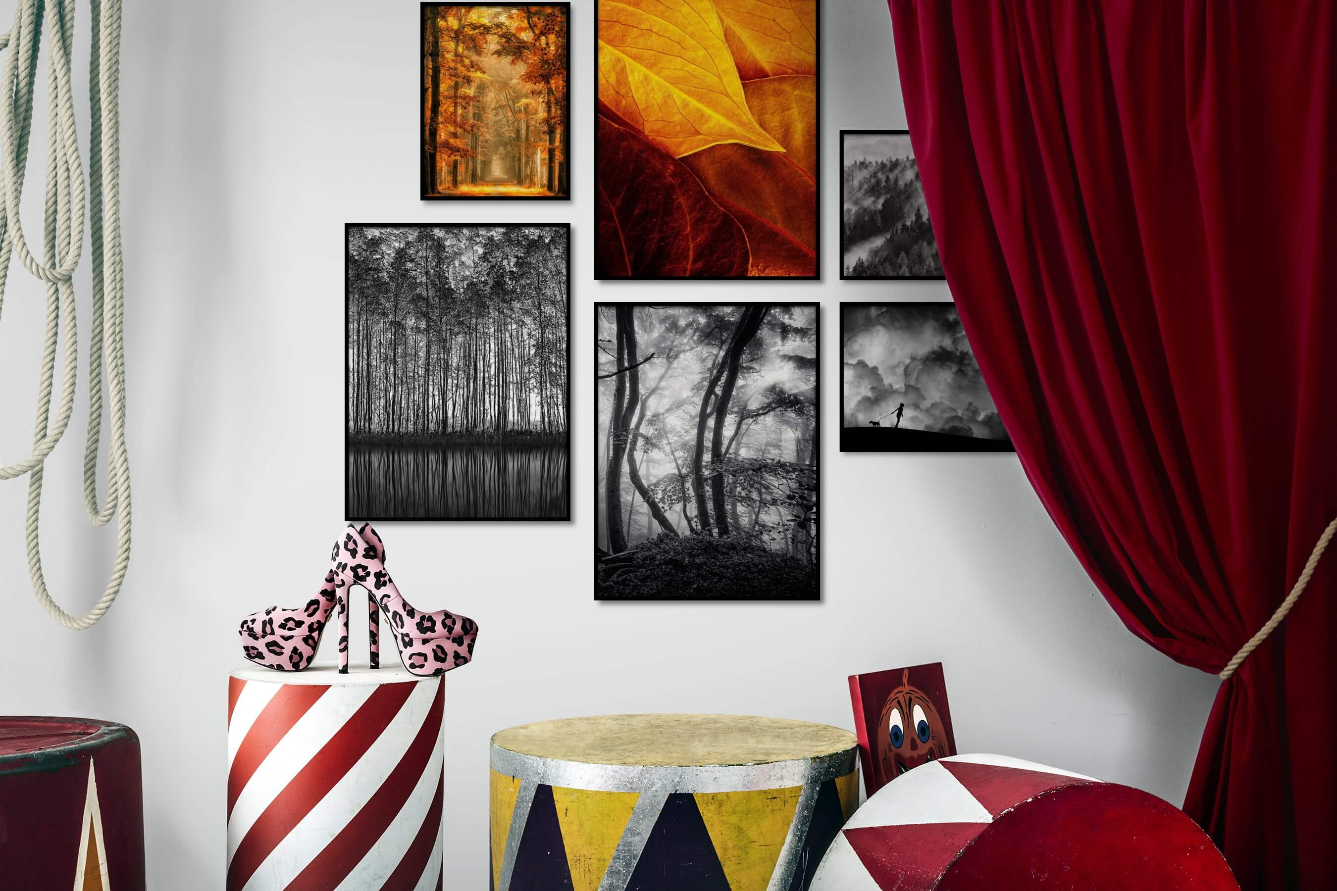 Gallery wall idea with six framed pictures arranged on a wall depicting Nature, Colorful, For the Moderate, Flowers & Plants, Black & White, For the Maximalist, Mindfulness, and Country Life