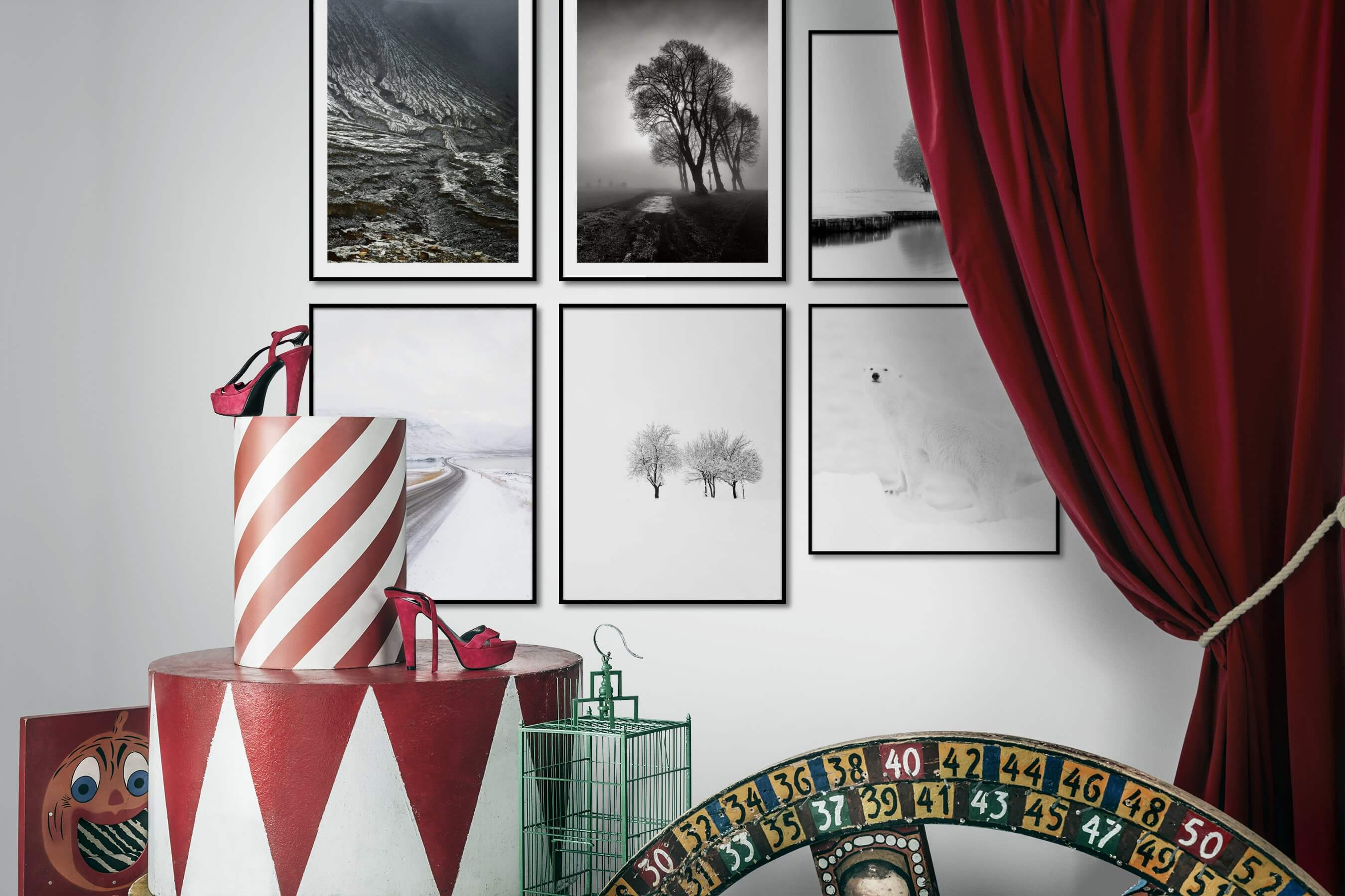 Gallery wall idea with six framed pictures arranged on a wall depicting Nature, Black & White, Country Life, Bright Tones, For the Minimalist, and Animals