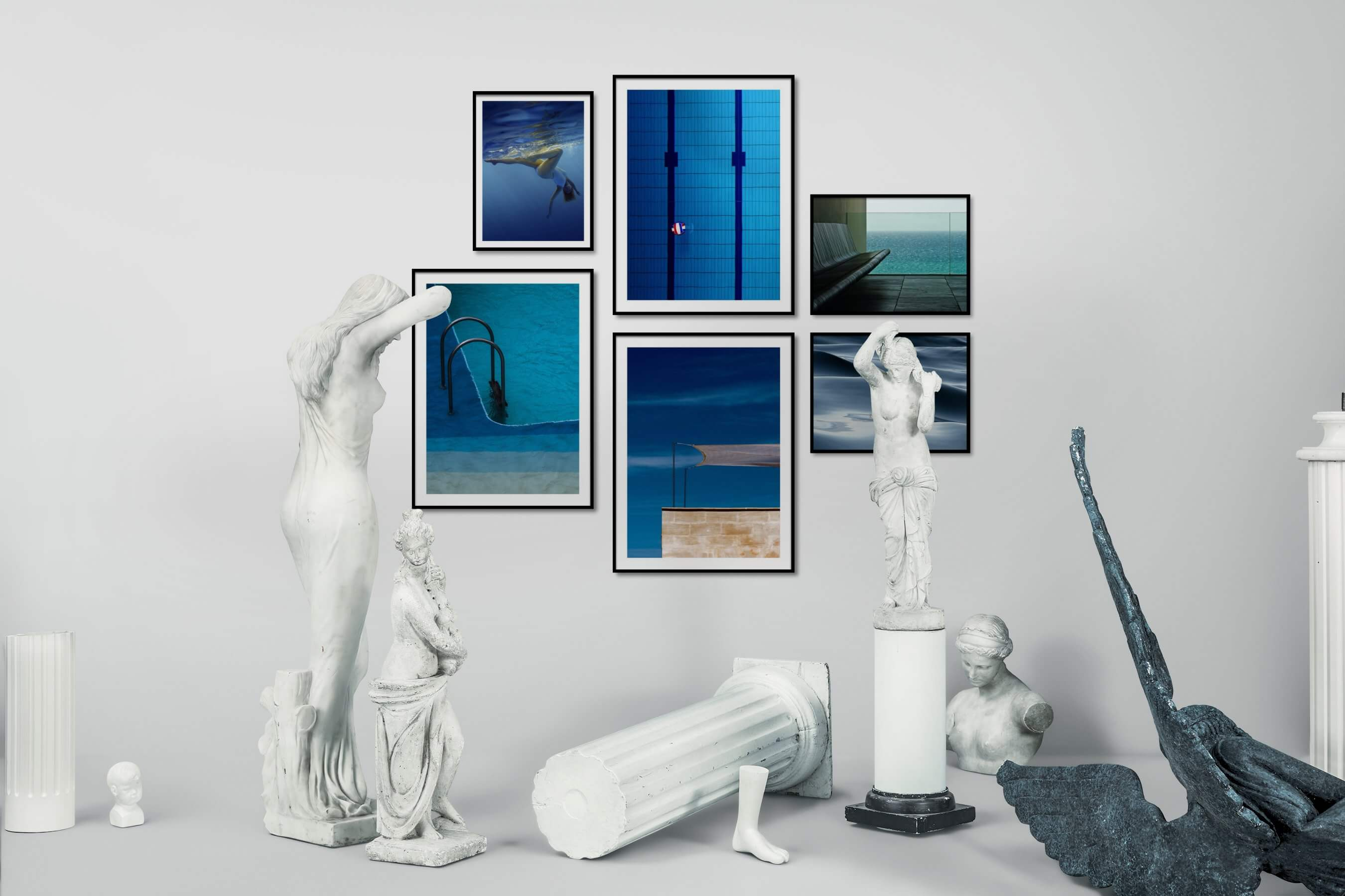 Gallery wall idea with six framed pictures arranged on a wall depicting Fashion & Beauty, Beach & Water, For the Minimalist, For the Moderate, and Mindfulness