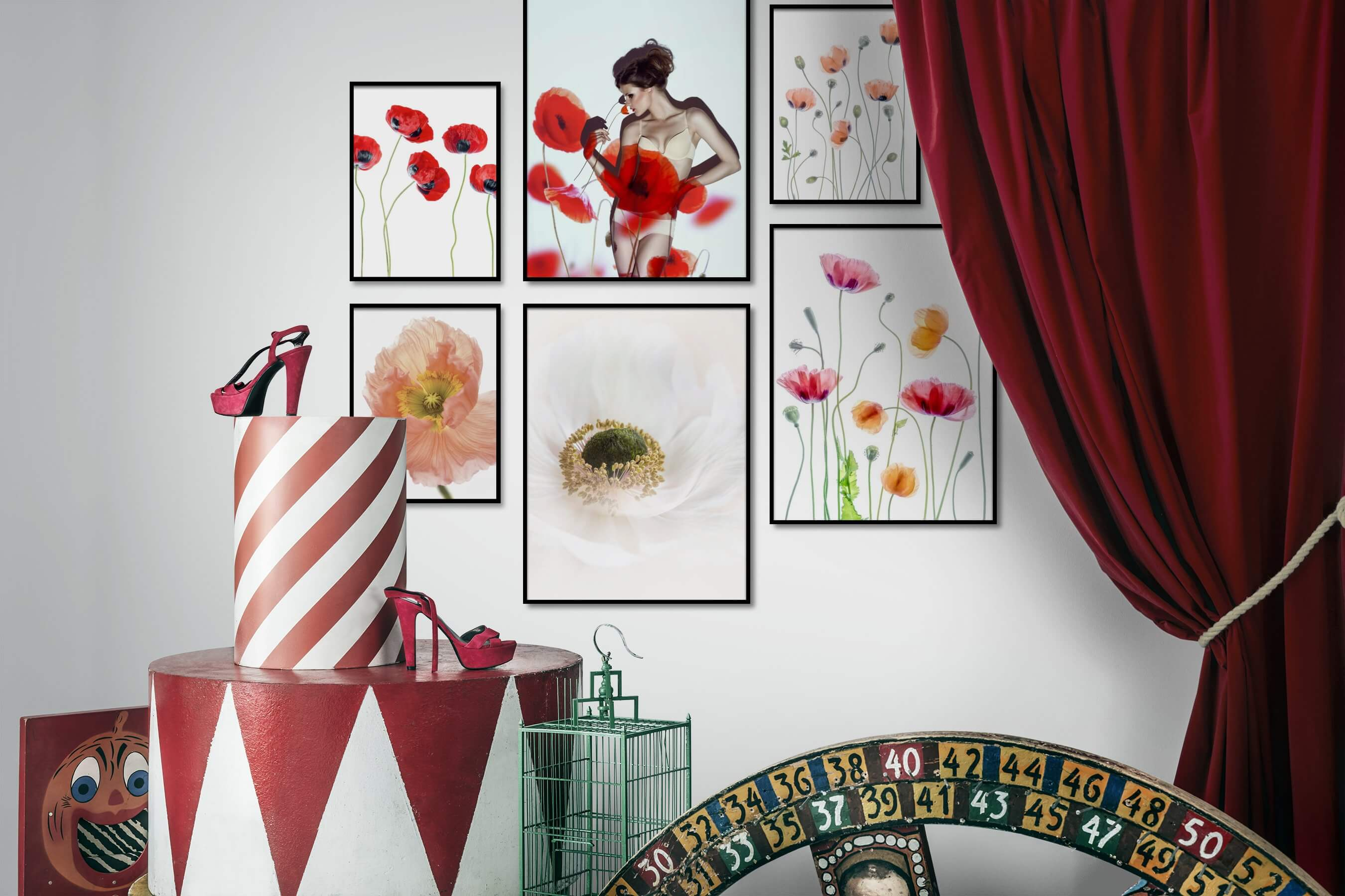 Gallery wall idea with six framed pictures arranged on a wall depicting Bright Tones, For the Moderate, Flowers & Plants, Fashion & Beauty, For the Minimalist, and Mindfulness
