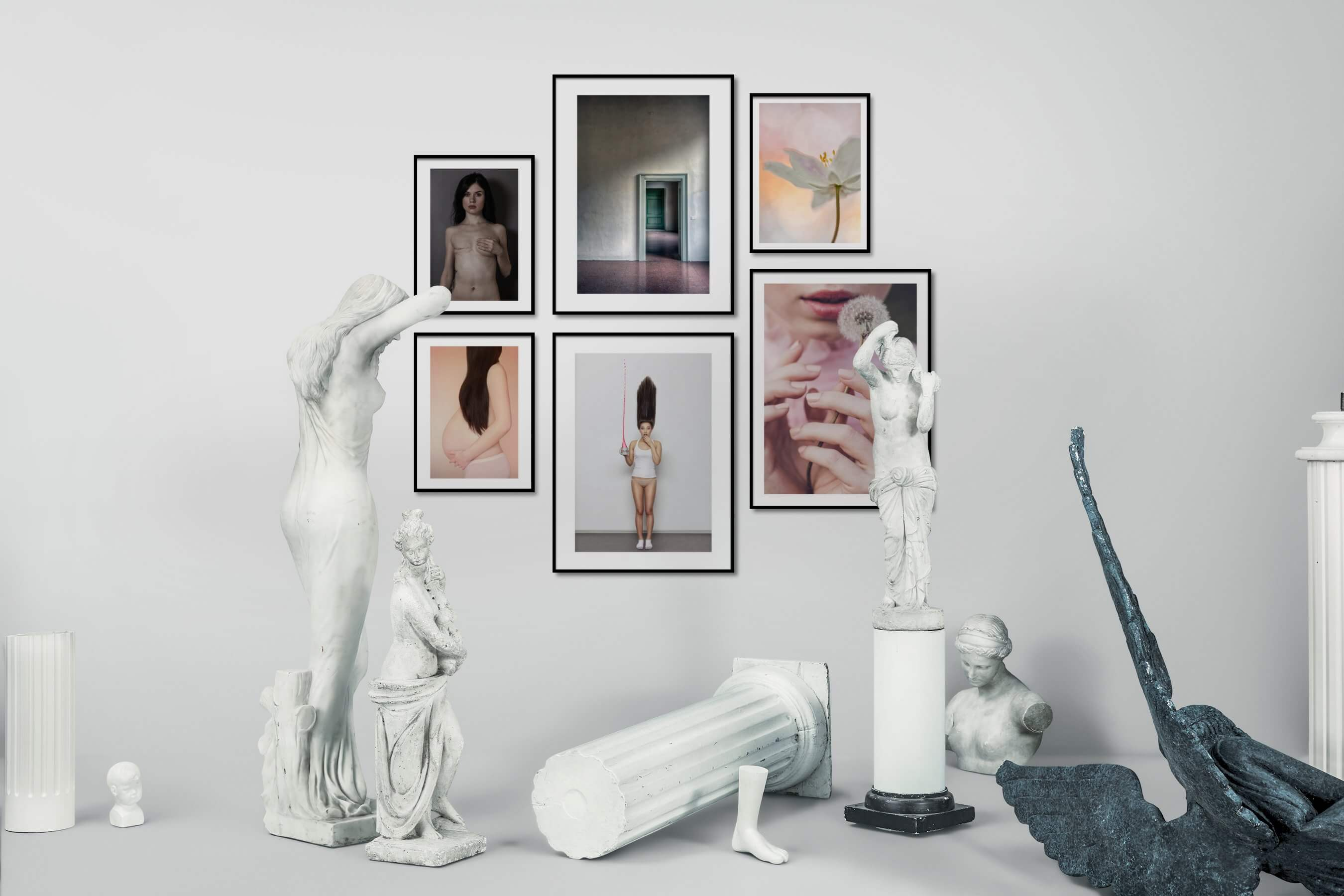 Gallery wall idea with six framed pictures arranged on a wall depicting Fashion & Beauty, For the Minimalist, For the Moderate, and Flowers & Plants
