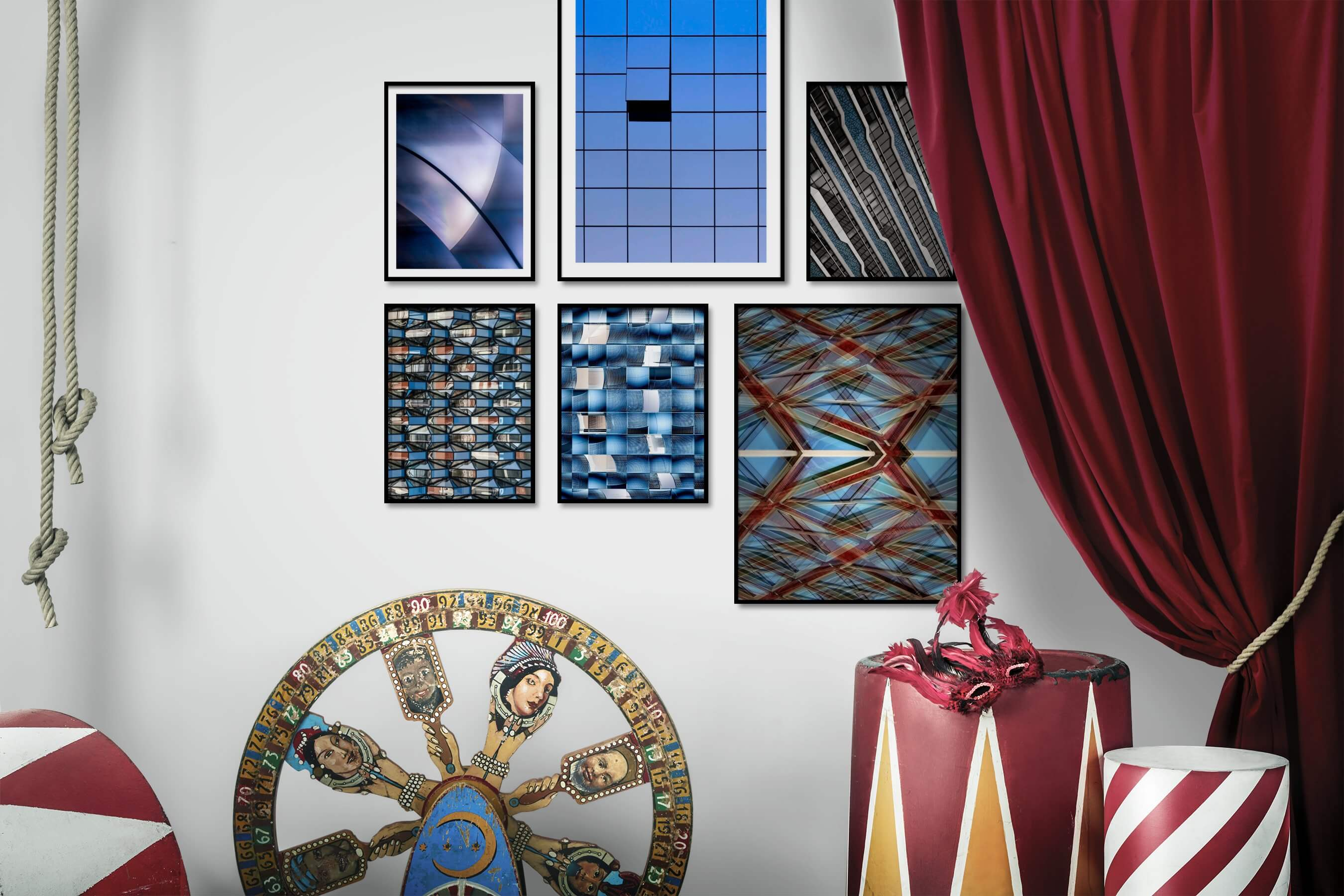 Gallery wall idea with six framed pictures arranged on a wall depicting For the Moderate and For the Maximalist