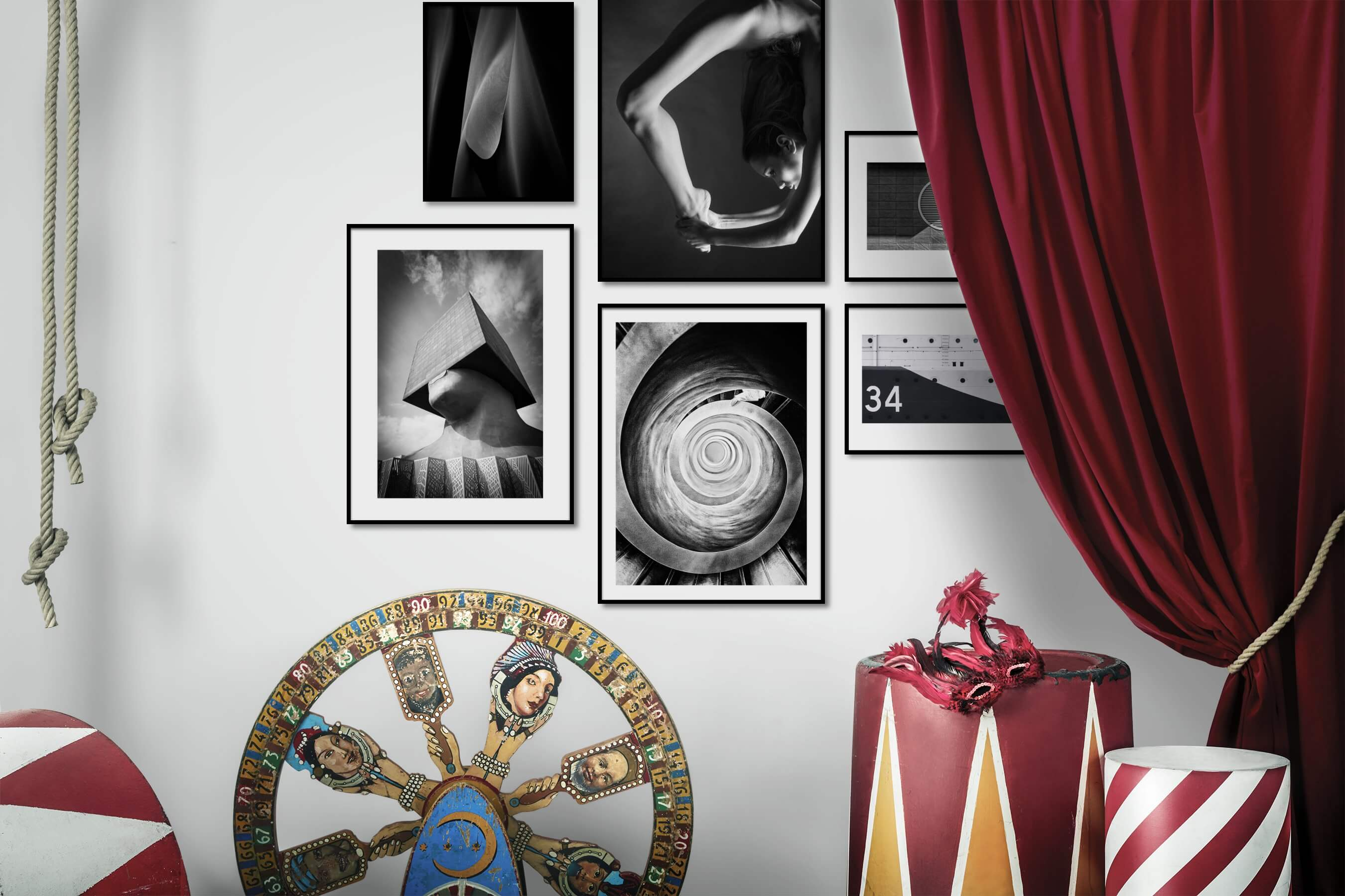 Gallery wall idea with six framed pictures arranged on a wall depicting Black & White, Dark Tones, For the Moderate, Nature, Fashion & Beauty, Artsy, For the Minimalist, and Vintage