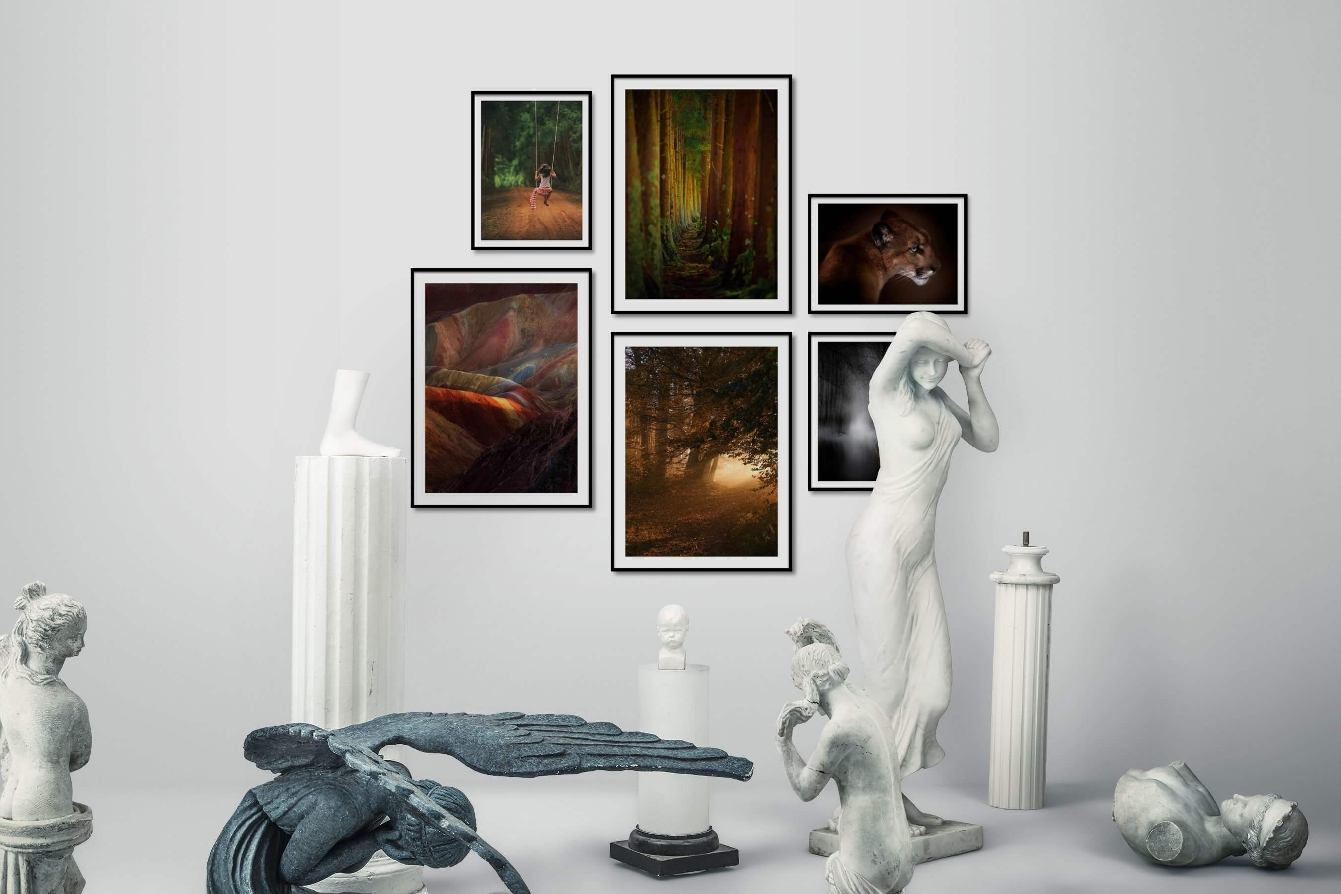 Gallery wall idea with six framed pictures arranged on a wall depicting Country Life, For the Moderate, Nature, and Animals