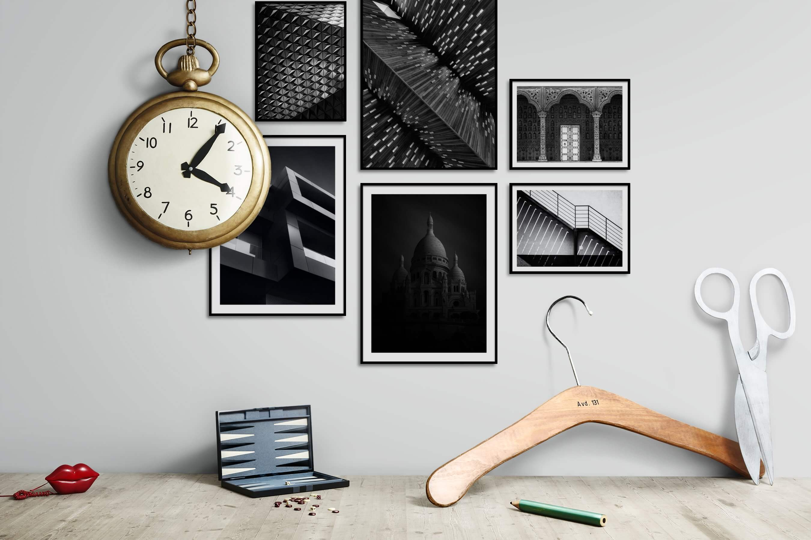 Gallery wall idea with six framed pictures arranged on a wall depicting Black & White, For the Maximalist, For the Moderate, City Life, and For the Minimalist