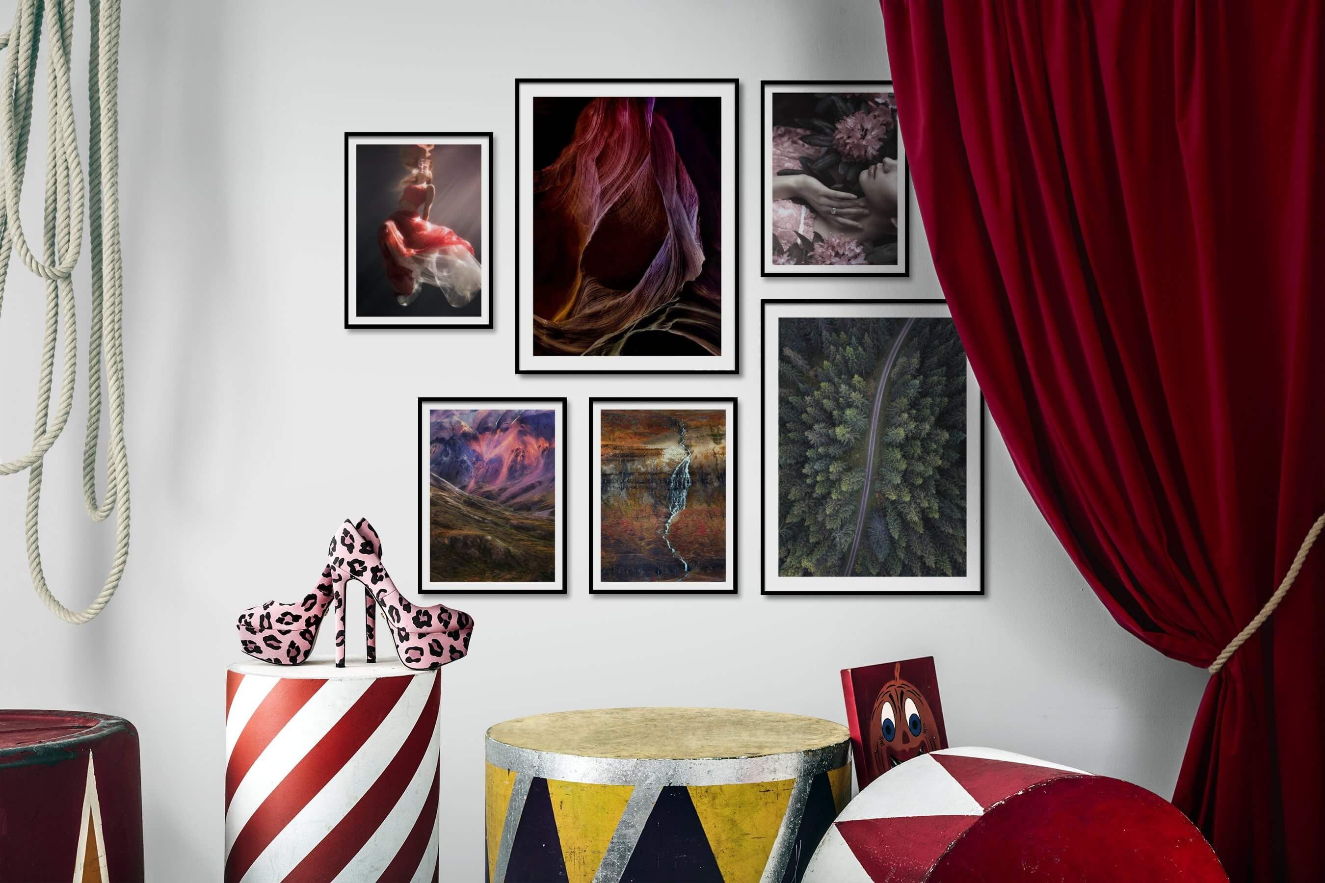 Gallery wall idea with six framed pictures arranged on a wall depicting Fashion & Beauty, Beach & Water, For the Moderate, Nature, Mindfulness, and Flowers & Plants