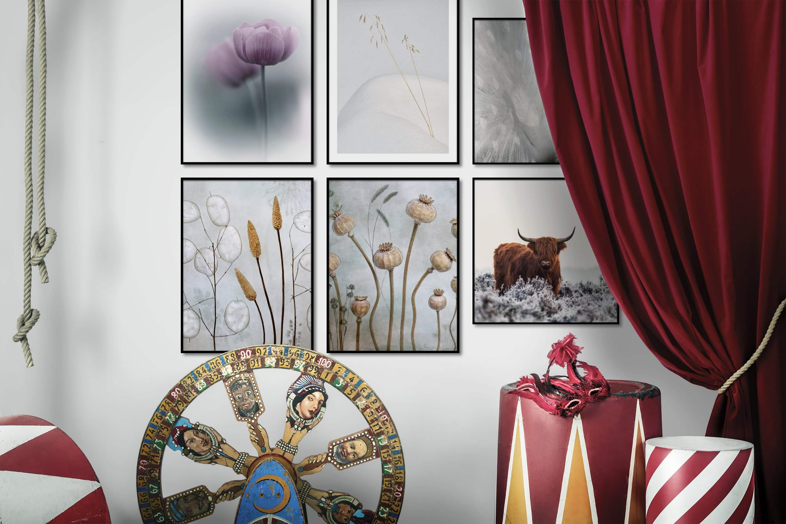 Gallery wall idea with six framed pictures arranged on a wall depicting Flowers & Plants, For the Minimalist, Mindfulness, Vintage, Animals, and Country Life