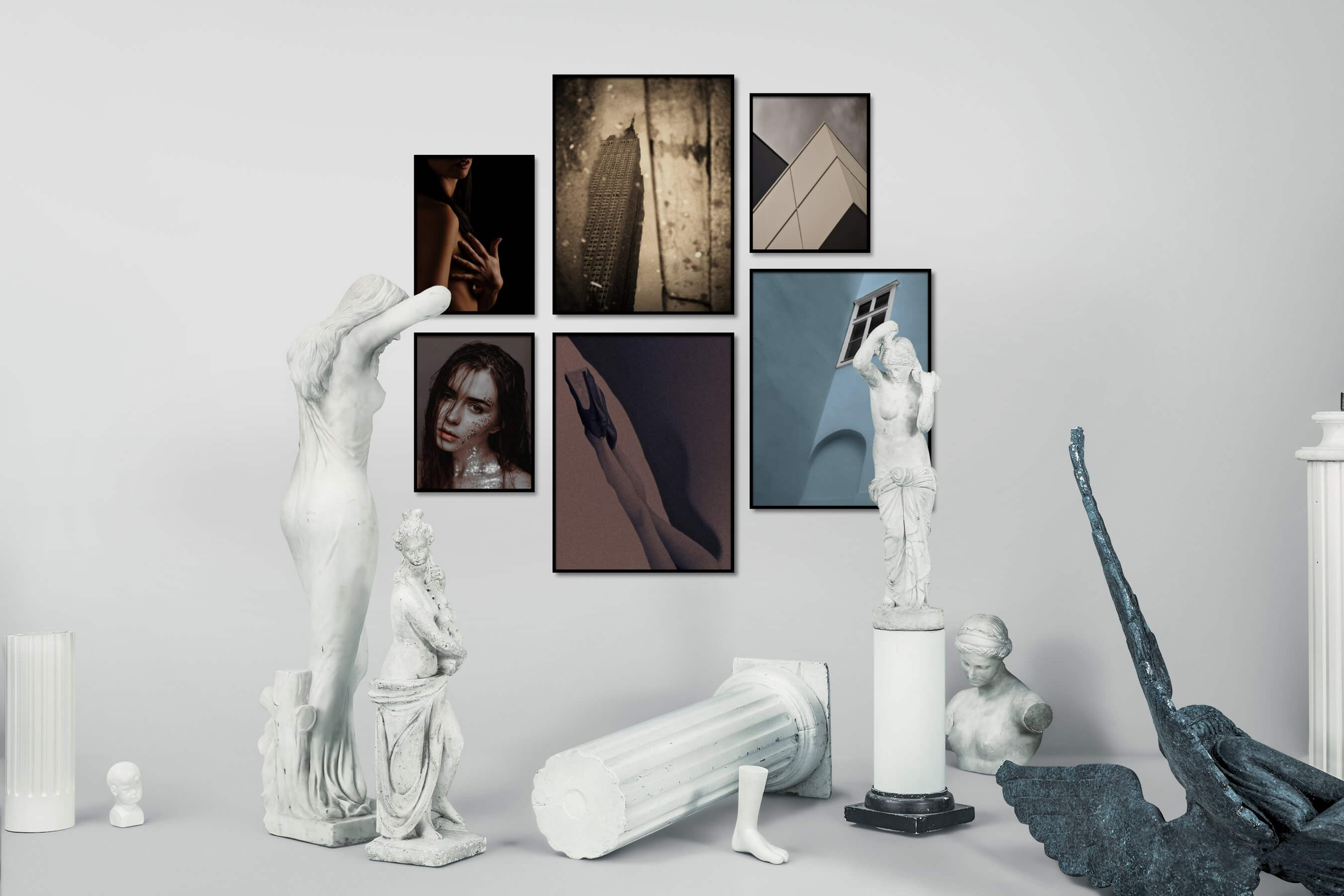 Gallery wall idea with six framed pictures arranged on a wall depicting Fashion & Beauty, Dark Tones, For the Moderate, City Life, Americana, Vintage, and For the Minimalist