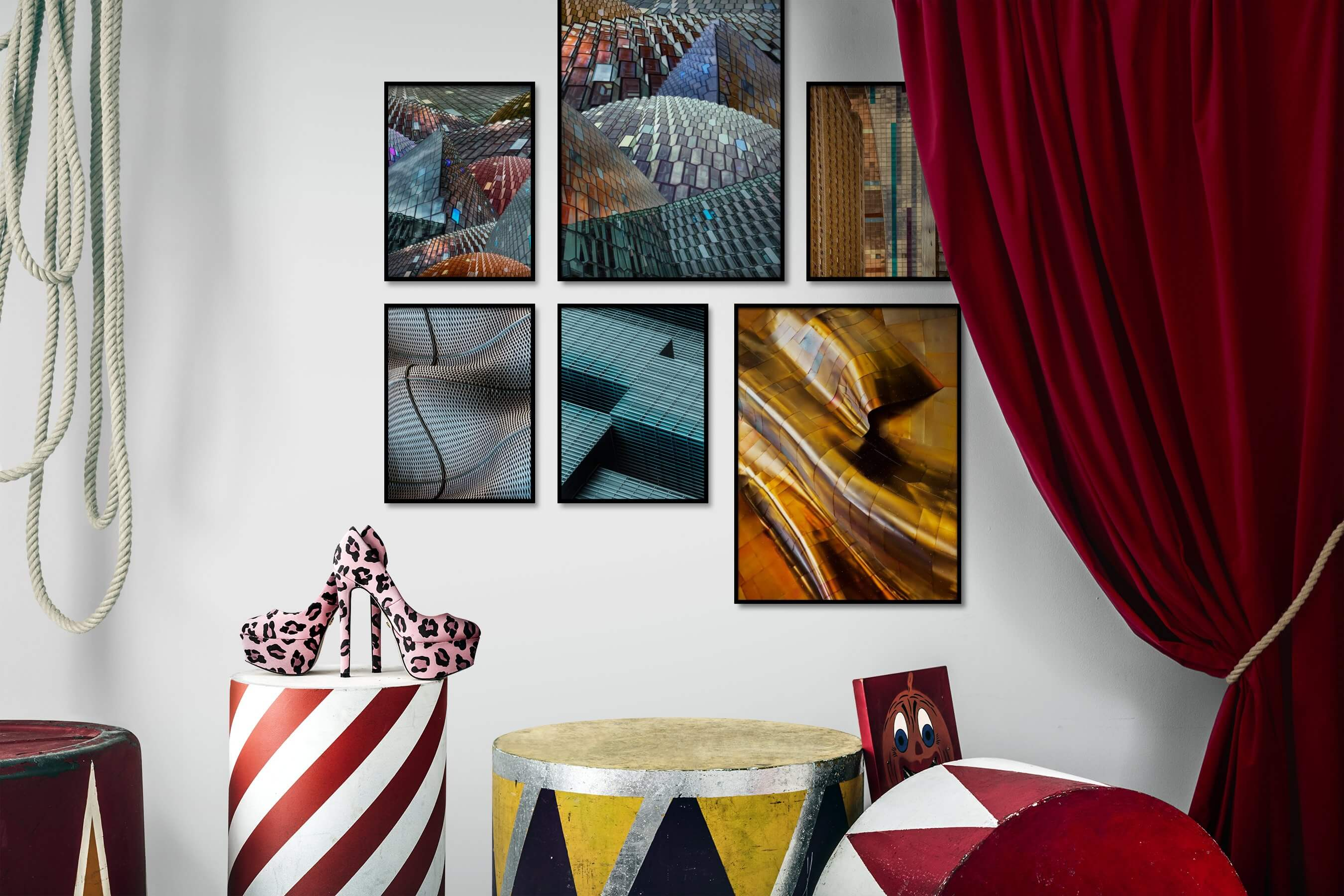 Gallery wall idea with six framed pictures arranged on a wall depicting For the Maximalist, Colorful, City Life, and Americana