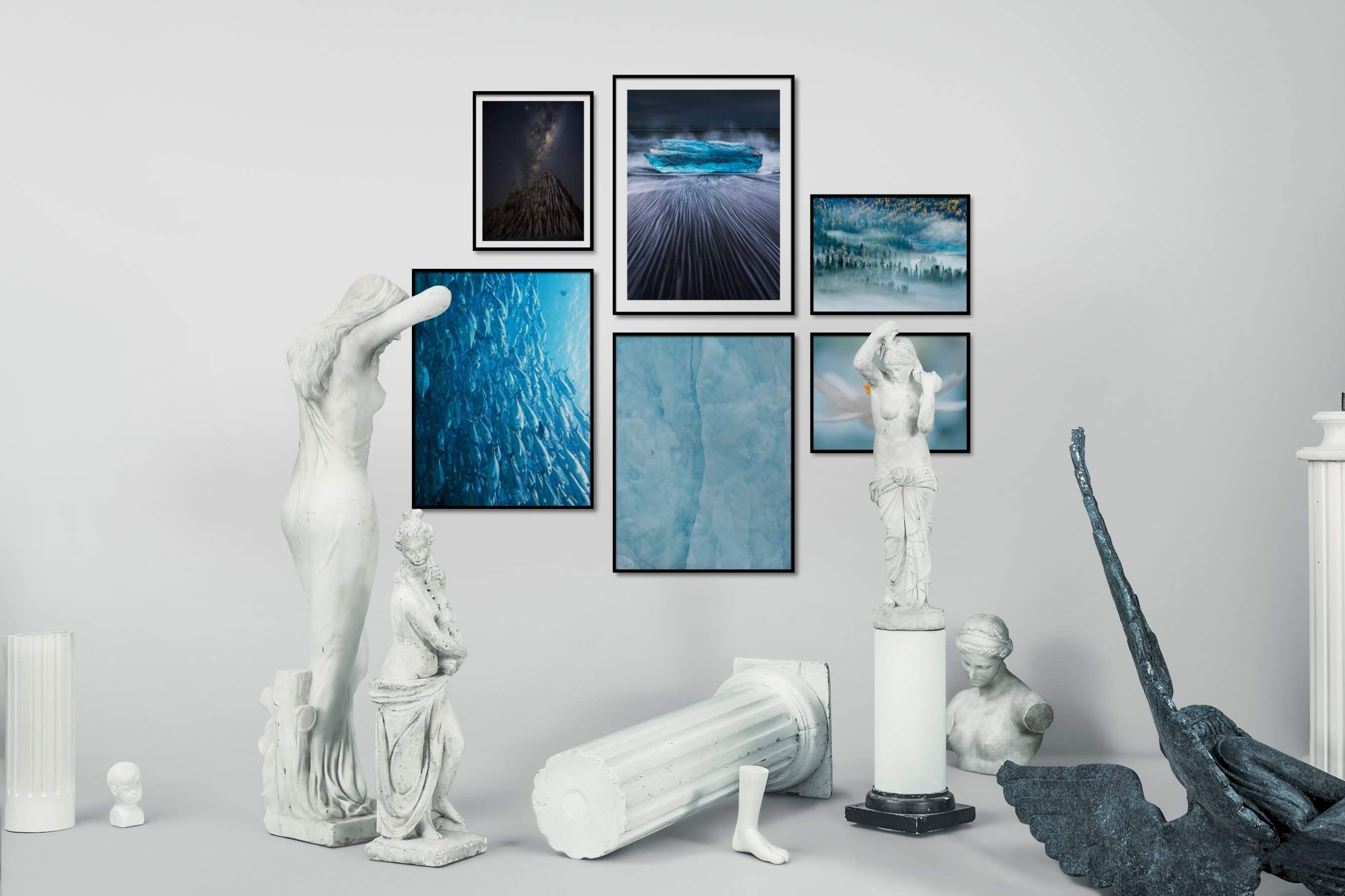Gallery wall idea with six framed pictures arranged on a wall depicting Nature, Beach & Water, For the Moderate, Animals, For the Minimalist, and Flowers & Plants