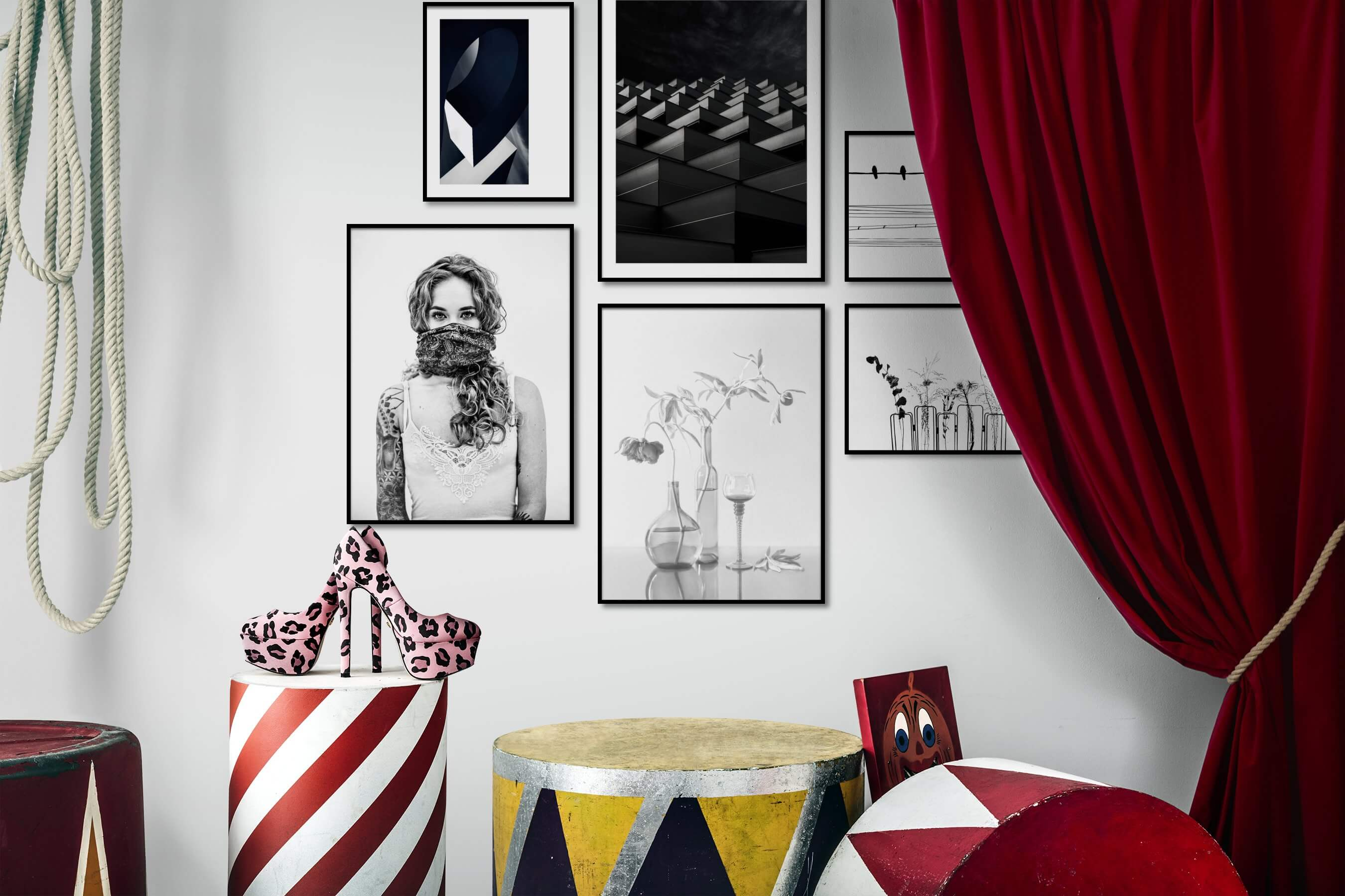 Gallery wall idea with six framed pictures arranged on a wall depicting For the Moderate, Black & White, Fashion & Beauty, Bright Tones, Flowers & Plants, For the Minimalist, and Animals