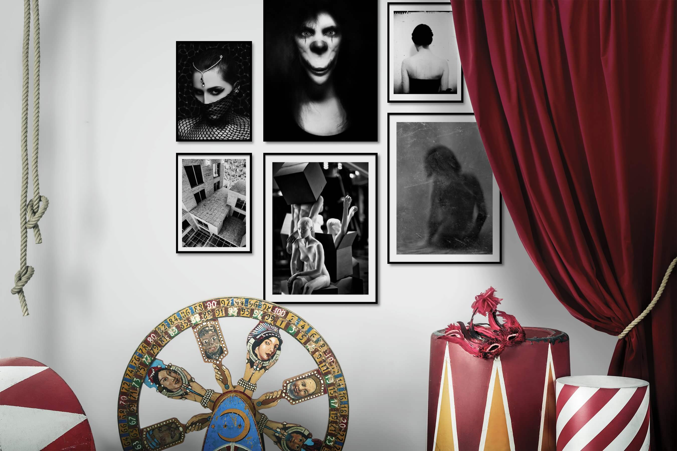 Gallery wall idea with six framed pictures arranged on a wall depicting Fashion & Beauty, Black & White, Artsy, Dark Tones, For the Minimalist, For the Maximalist, Bold, and Vintage