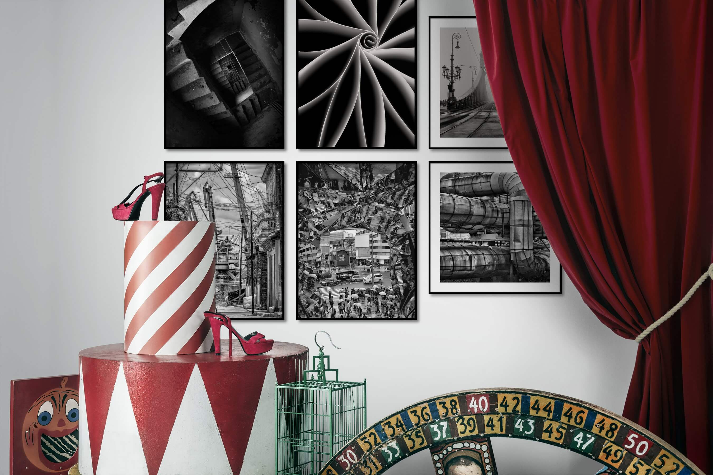 Gallery wall idea with six framed pictures arranged on a wall depicting Black & White, For the Moderate, For the Maximalist, City Life, and Vintage