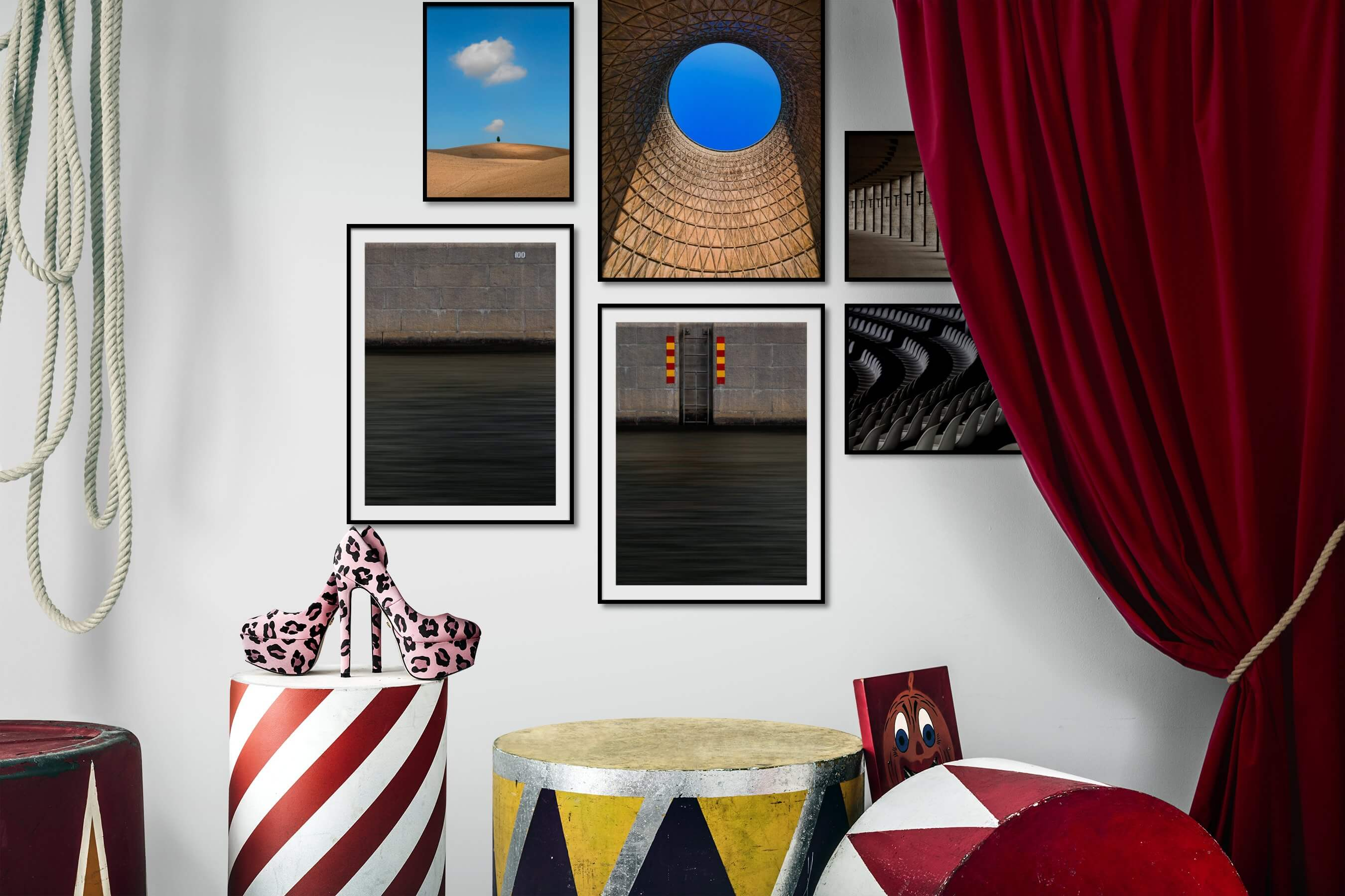 Gallery wall idea with six framed pictures arranged on a wall depicting For the Minimalist, Country Life, For the Moderate, Beach & Water, and City Life