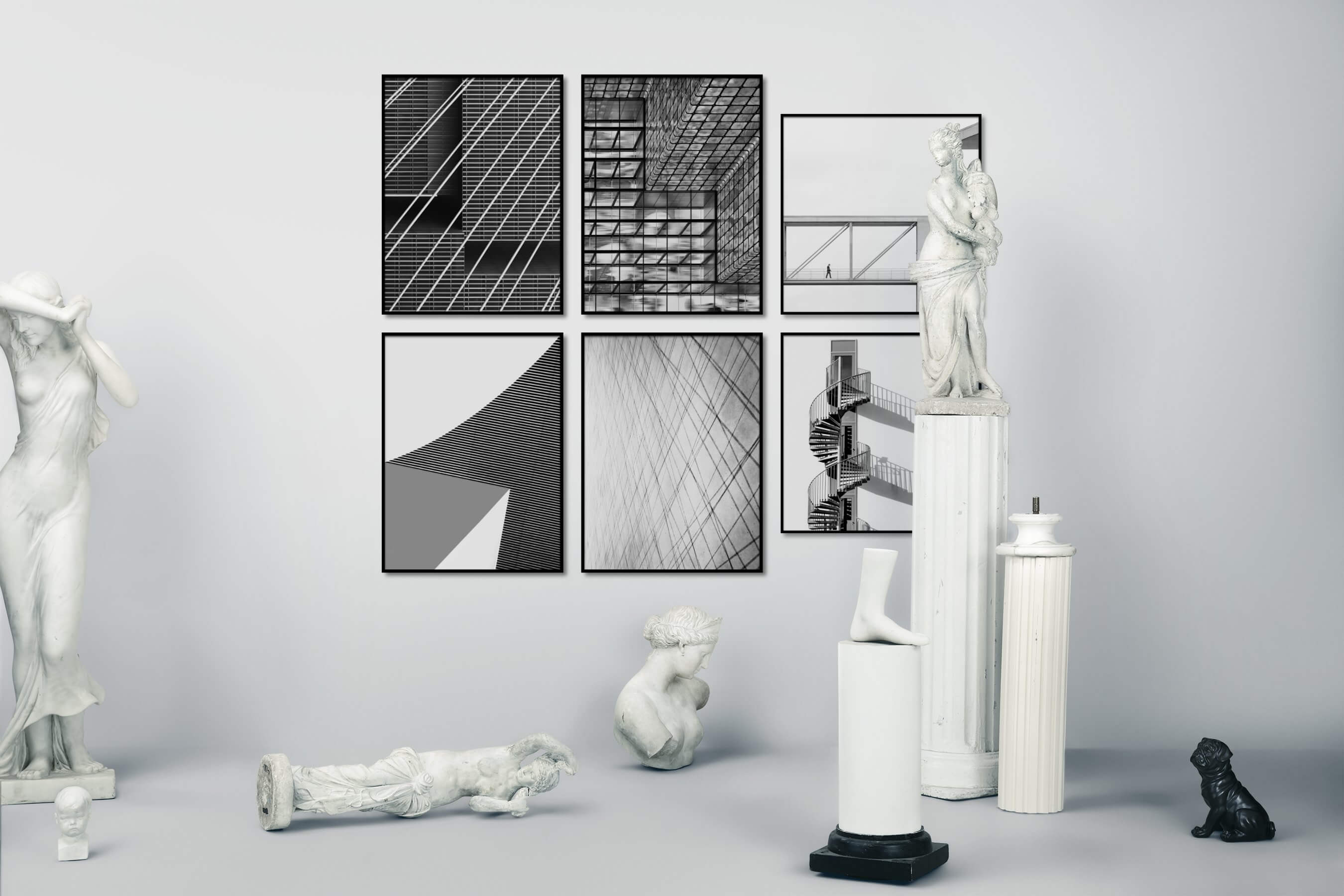 Gallery wall idea with six framed pictures arranged on a wall depicting Black & White, For the Maximalist, For the Minimalist, For the Moderate, and Bright Tones
