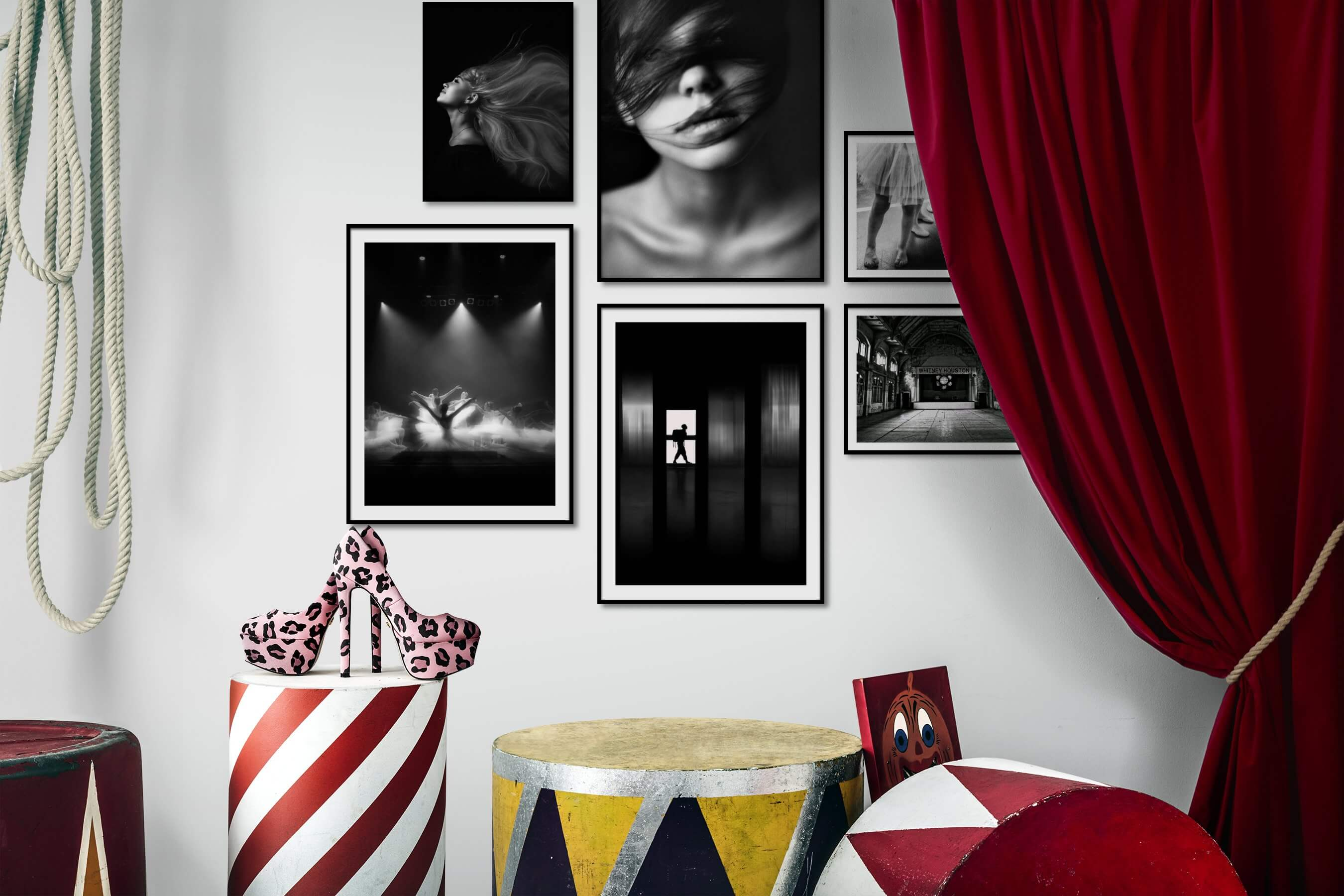 Gallery wall idea with six framed pictures arranged on a wall depicting Fashion & Beauty, Black & White, Dark Tones, For the Minimalist, For the Moderate, City Life, and Americana
