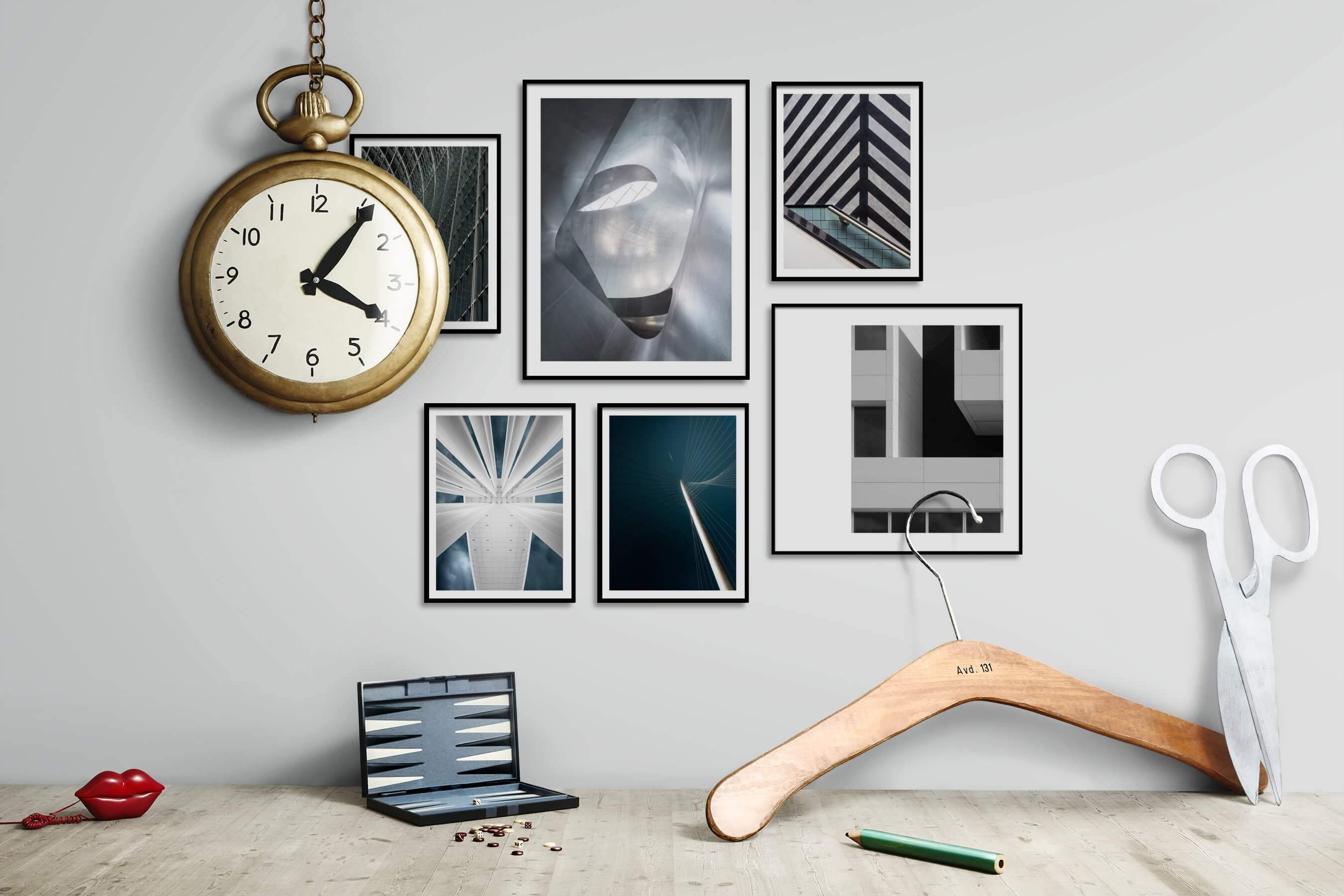 Gallery wall idea with six framed pictures arranged on a wall depicting For the Maximalist, For the Moderate, For the Minimalist, Black & White, and City Life