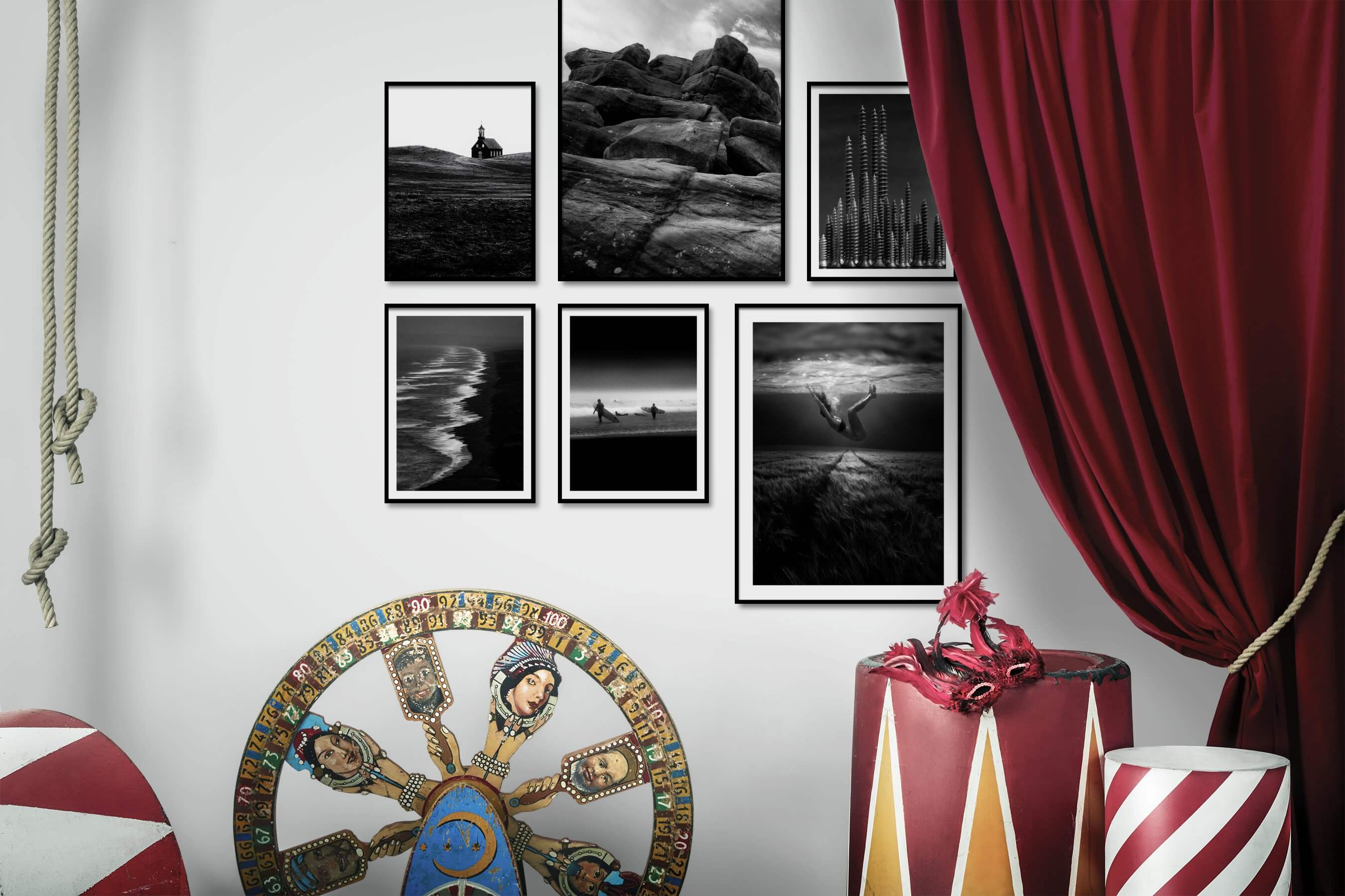 Gallery wall idea with six framed pictures arranged on a wall depicting Black & White, Country Life, For the Moderate, Nature, Beach & Water, Dark Tones, City Life, and Americana