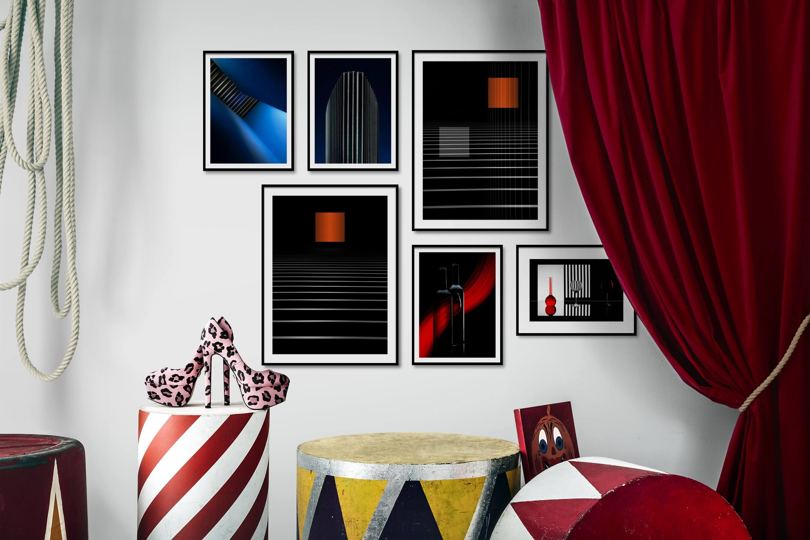 Gallery wall idea with six framed pictures arranged on a wall depicting For the Moderate, For the Minimalist, and City Life