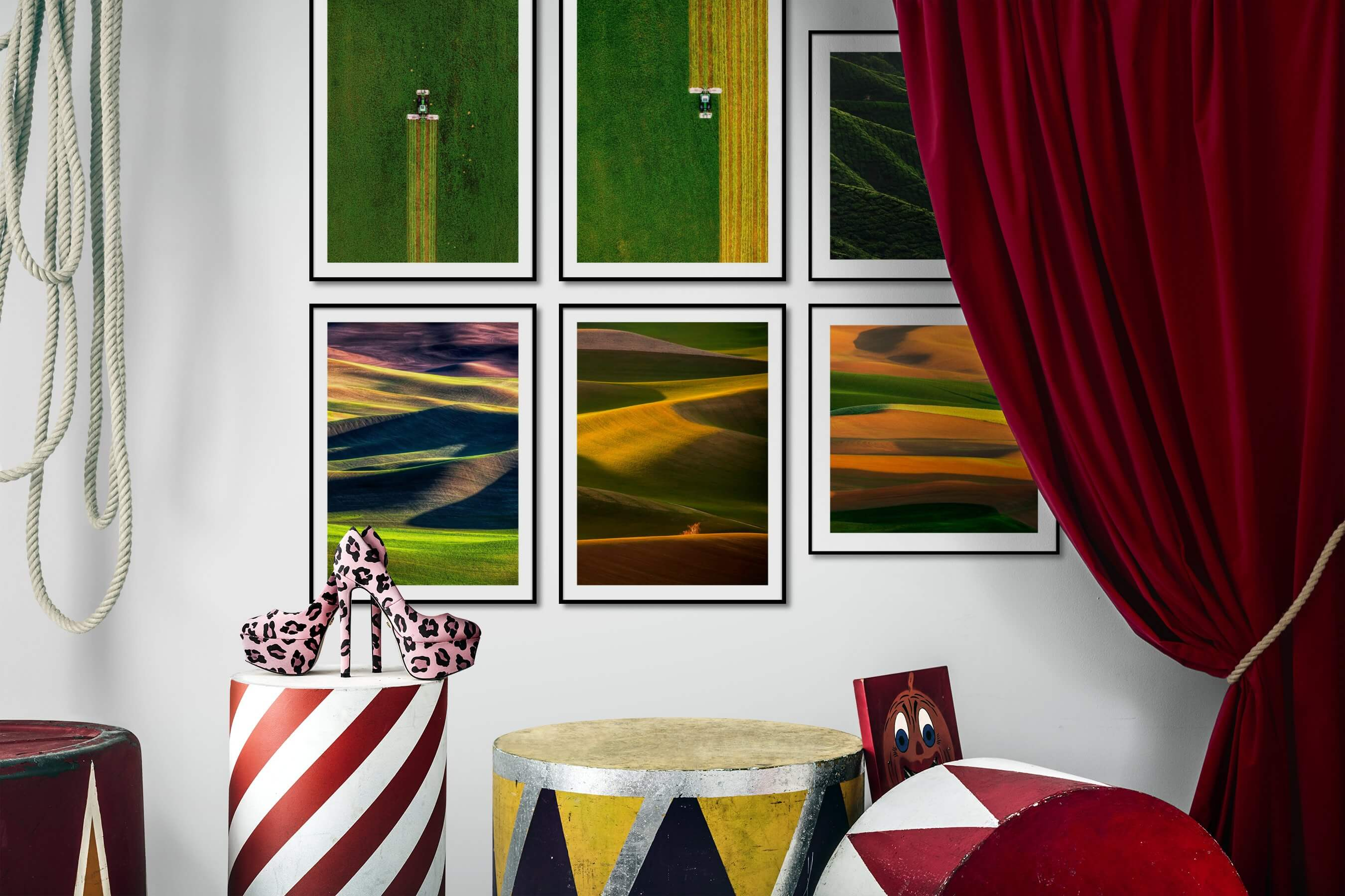 Gallery wall idea with six framed pictures arranged on a wall depicting For the Minimalist, Country Life, and For the Moderate