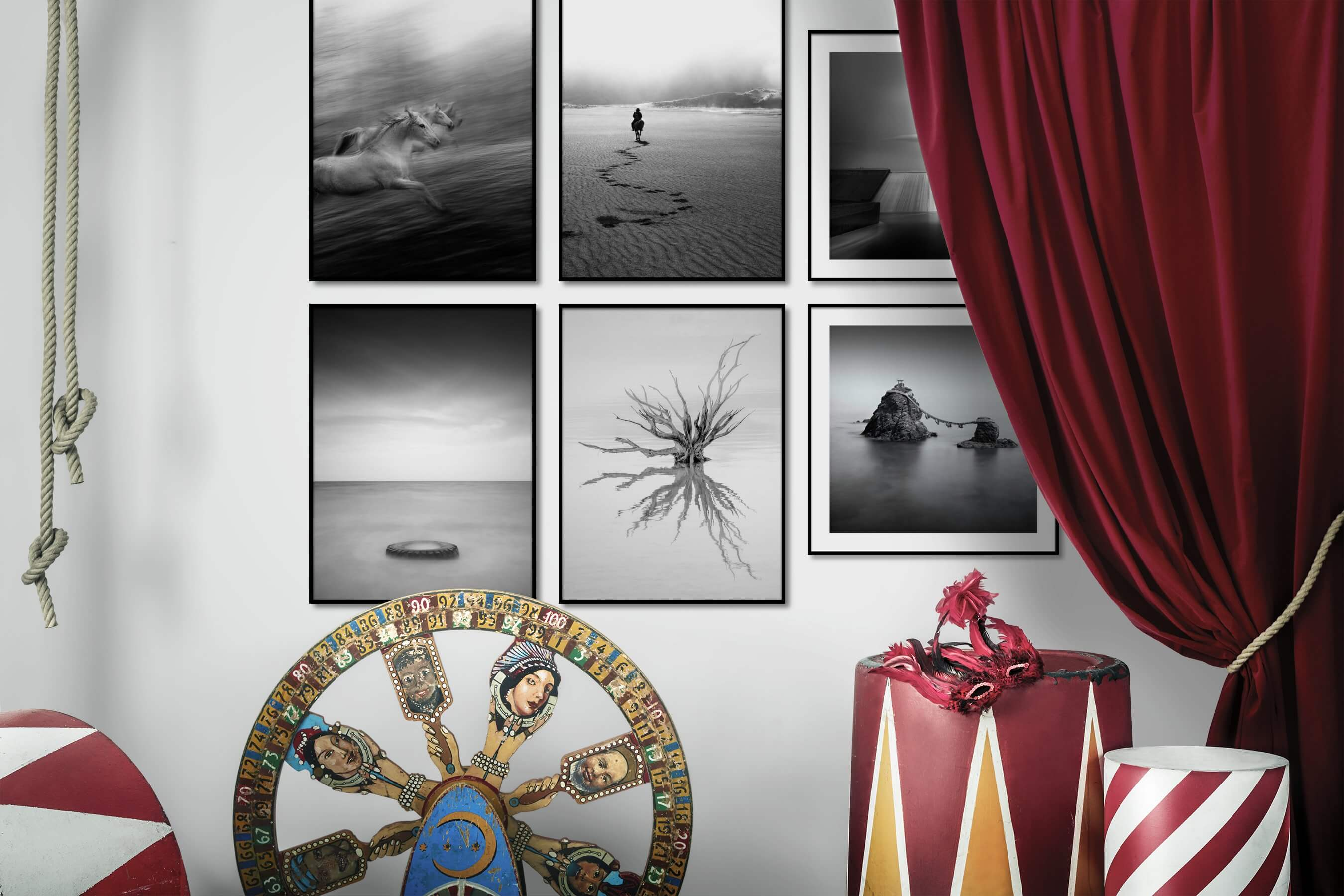 Gallery wall idea with six framed pictures arranged on a wall depicting Black & White, For the Moderate, Animals, Country Life, Mindfulness, and For the Minimalist