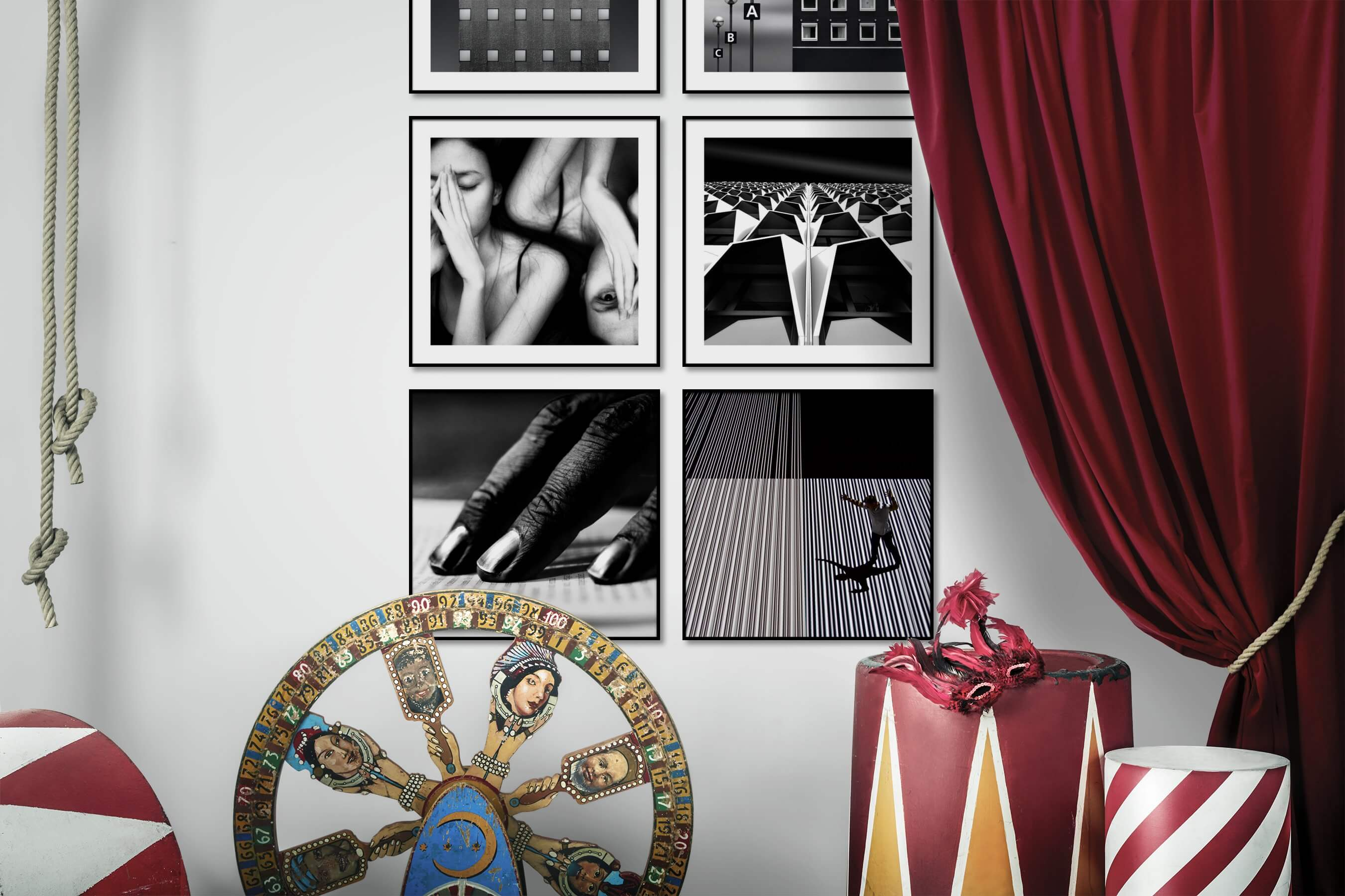 Gallery wall idea with six framed pictures arranged on a wall depicting Black & White, For the Moderate, City Life, Fashion & Beauty, and For the Maximalist