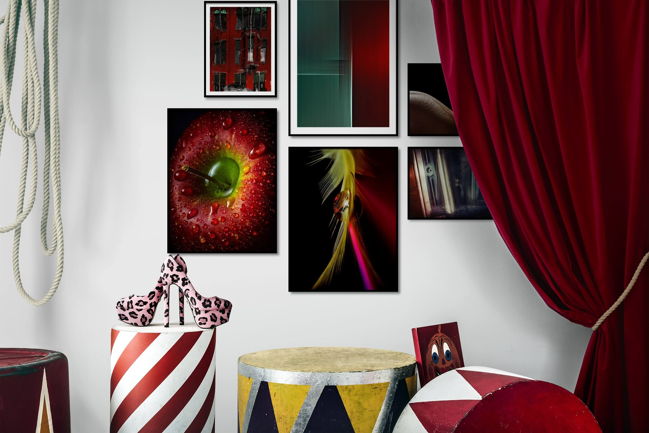 Gallery wall idea with six framed pictures arranged on a wall depicting For the Maximalist, City Life, For the Minimalist, For the Moderate, Flowers & Plants, and Fashion & Beauty