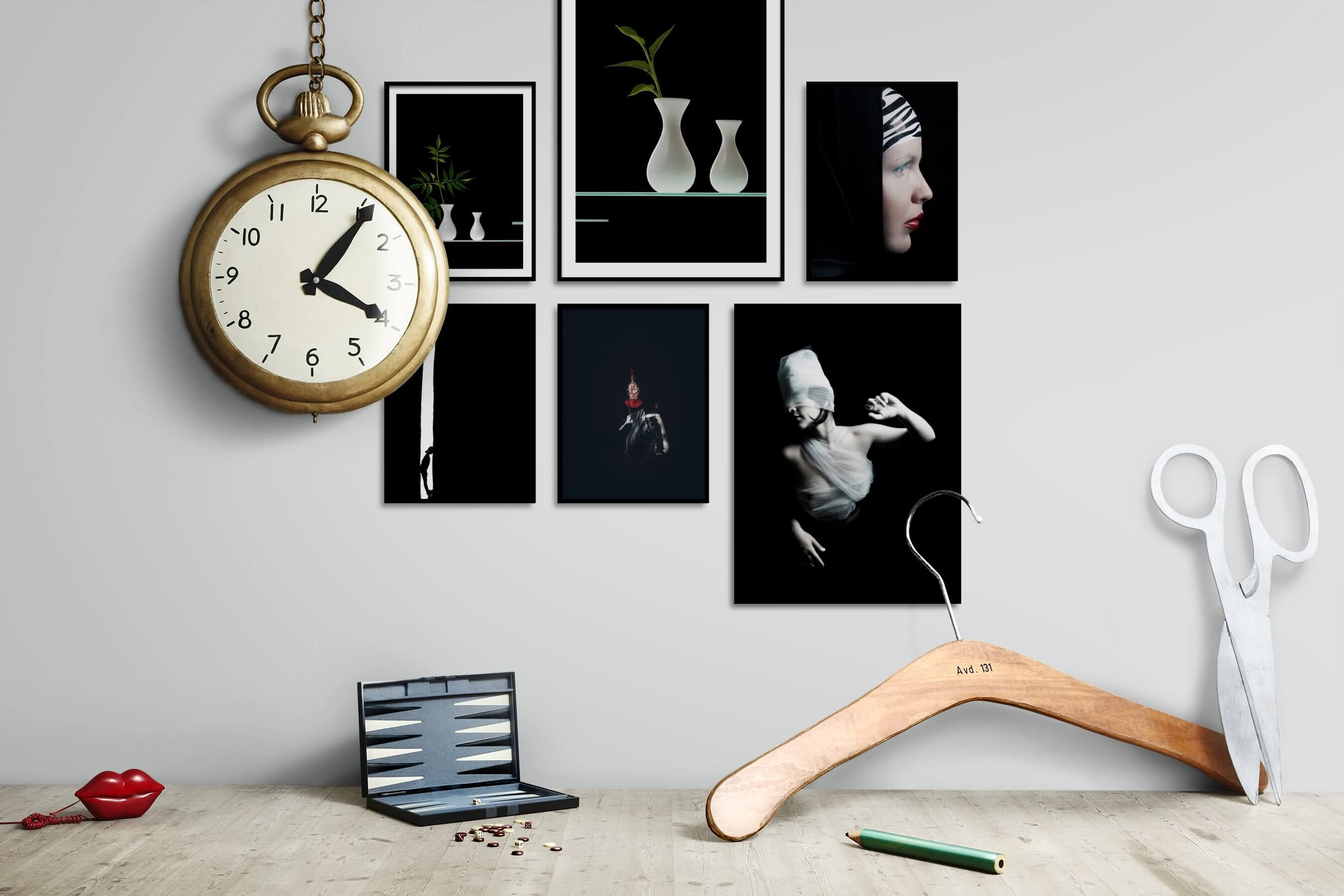 Gallery wall idea with six framed pictures arranged on a wall depicting For the Minimalist, Flowers & Plants, Black & White, Dark Tones, Nature, Animals, Artsy, and Fashion & Beauty