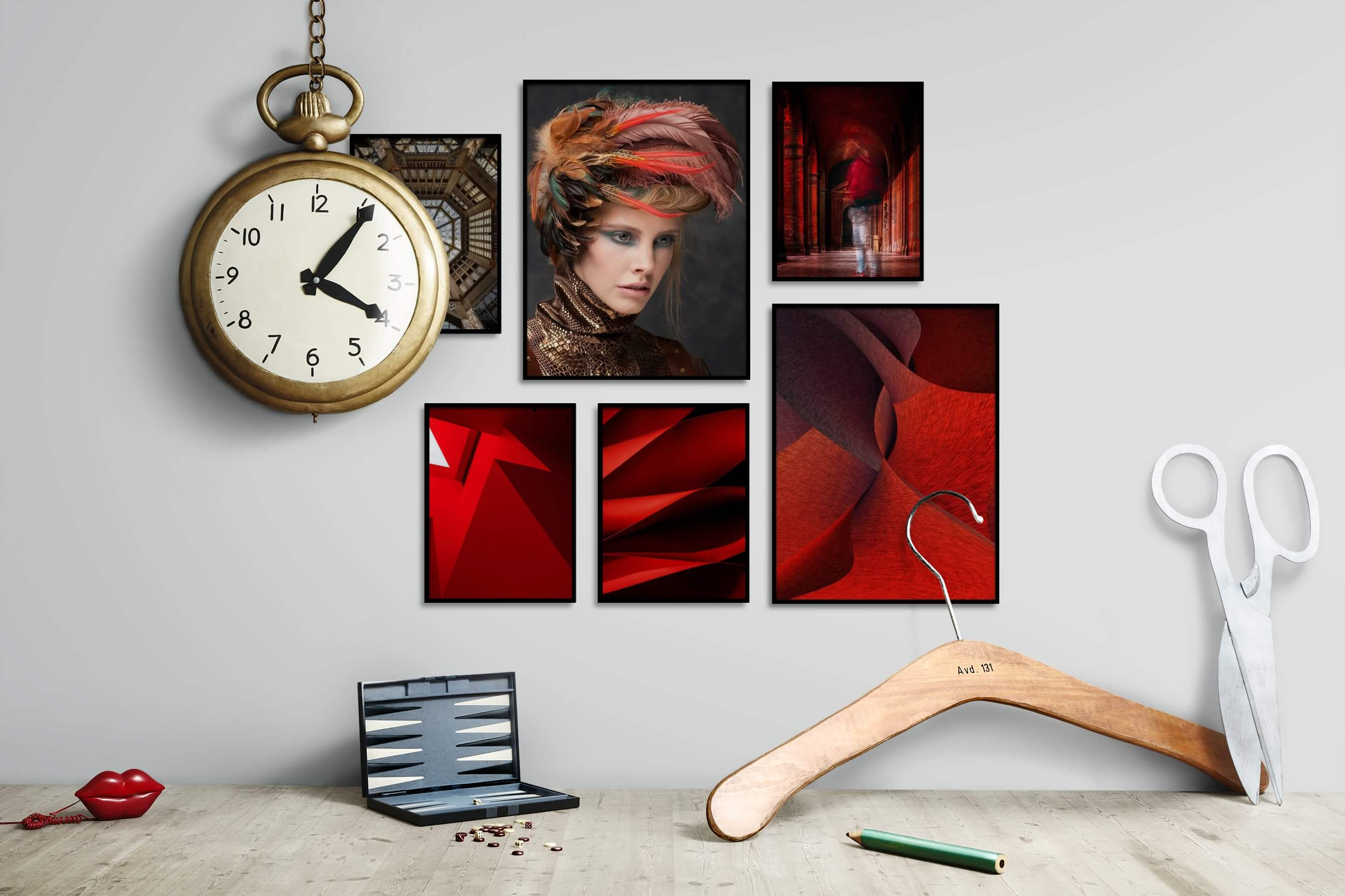 Gallery wall idea with six framed pictures arranged on a wall depicting For the Maximalist, Vintage, Fashion & Beauty, Colorful, For the Moderate, and Artsy