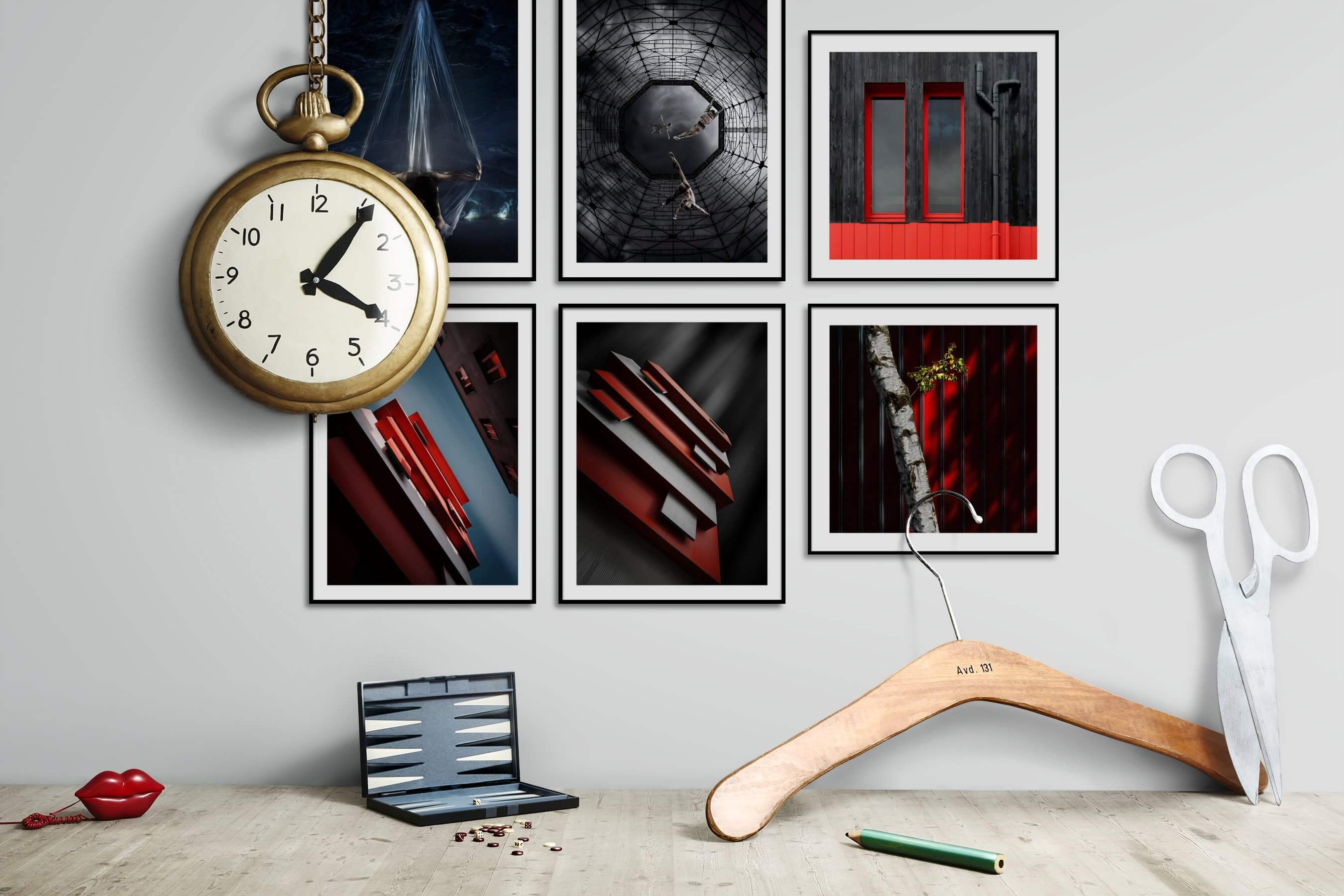 Gallery wall idea with six framed pictures arranged on a wall depicting Artsy, For the Moderate, and City Life