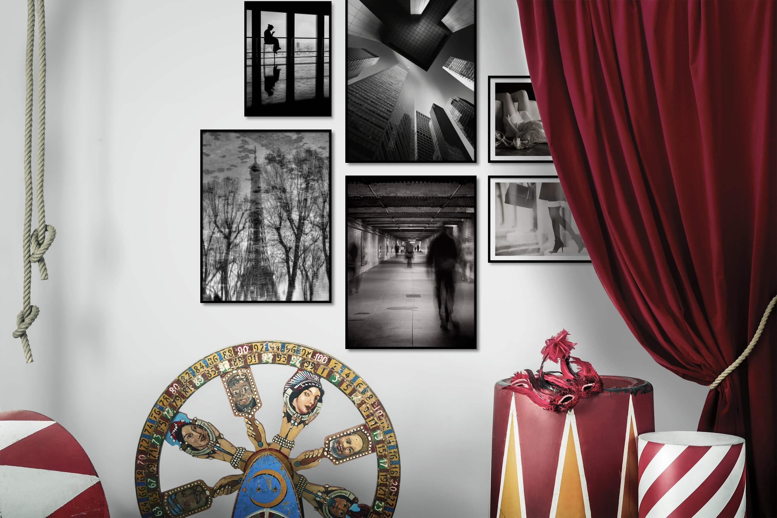 Gallery wall idea with six framed pictures arranged on a wall depicting Black & White, For the Moderate, City Life, Fashion & Beauty, and Vintage