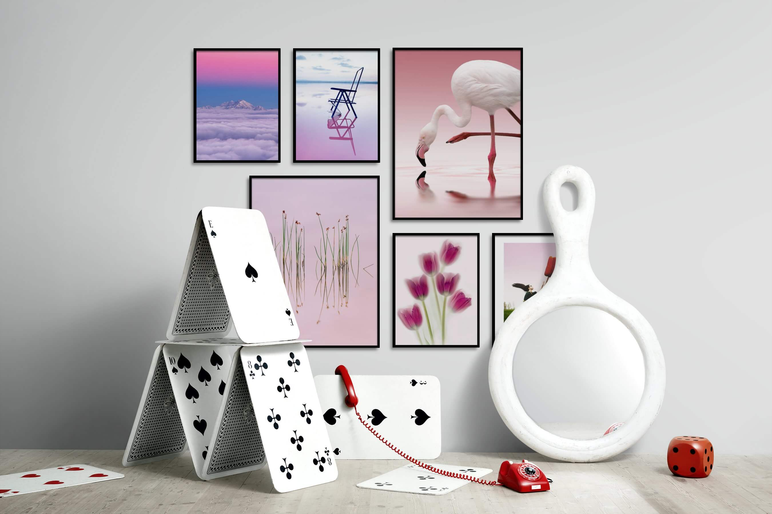 Gallery wall idea with six framed pictures arranged on a wall depicting Nature, Mindfulness, For the Minimalist, Beach & Water, Colorful, Flowers & Plants, Animals, For the Moderate, Artsy, and Country Life