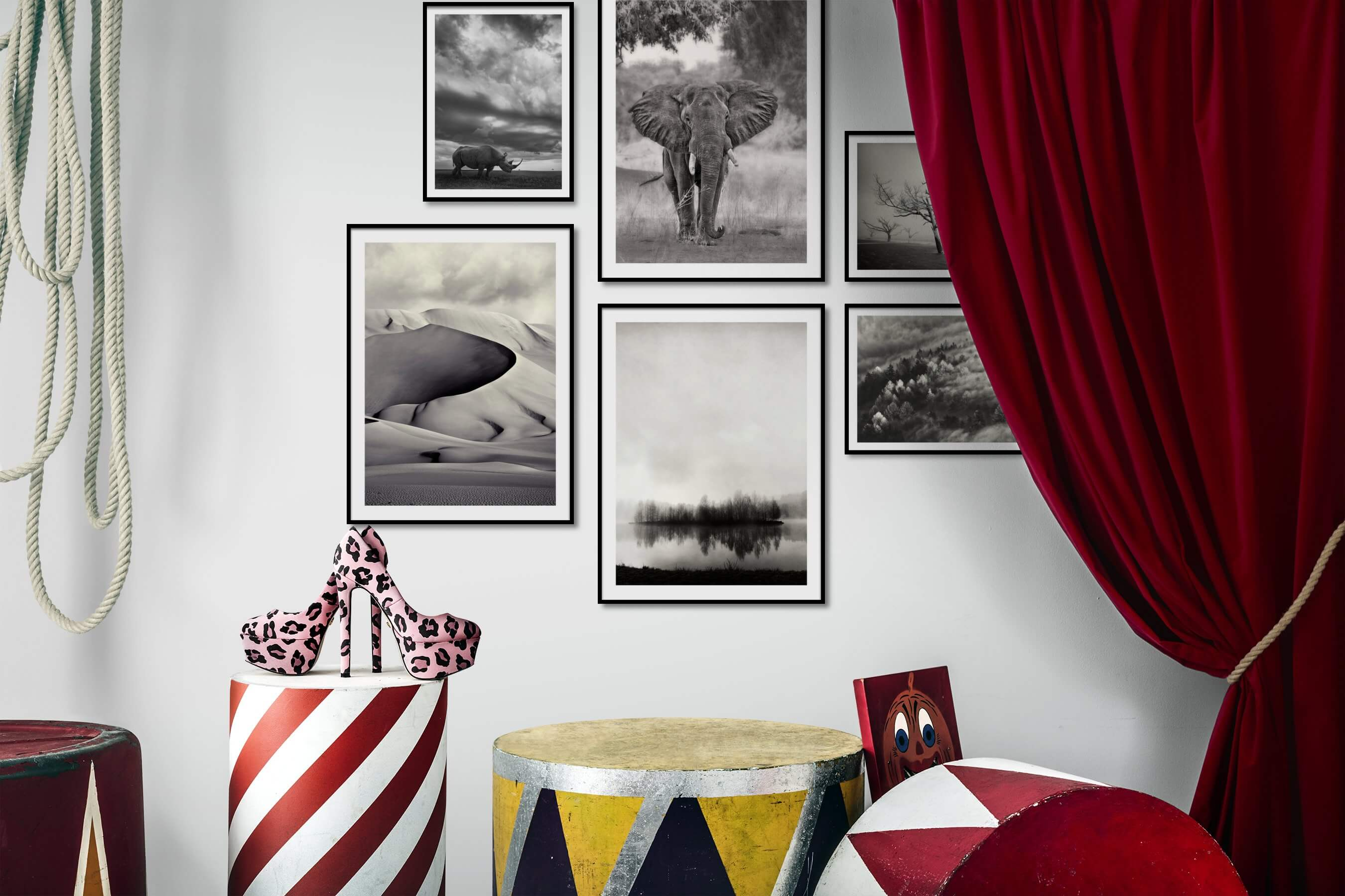 Gallery wall idea with six framed pictures arranged on a wall depicting Black & White, Animals, For the Moderate, Nature, For the Minimalist, and Mindfulness