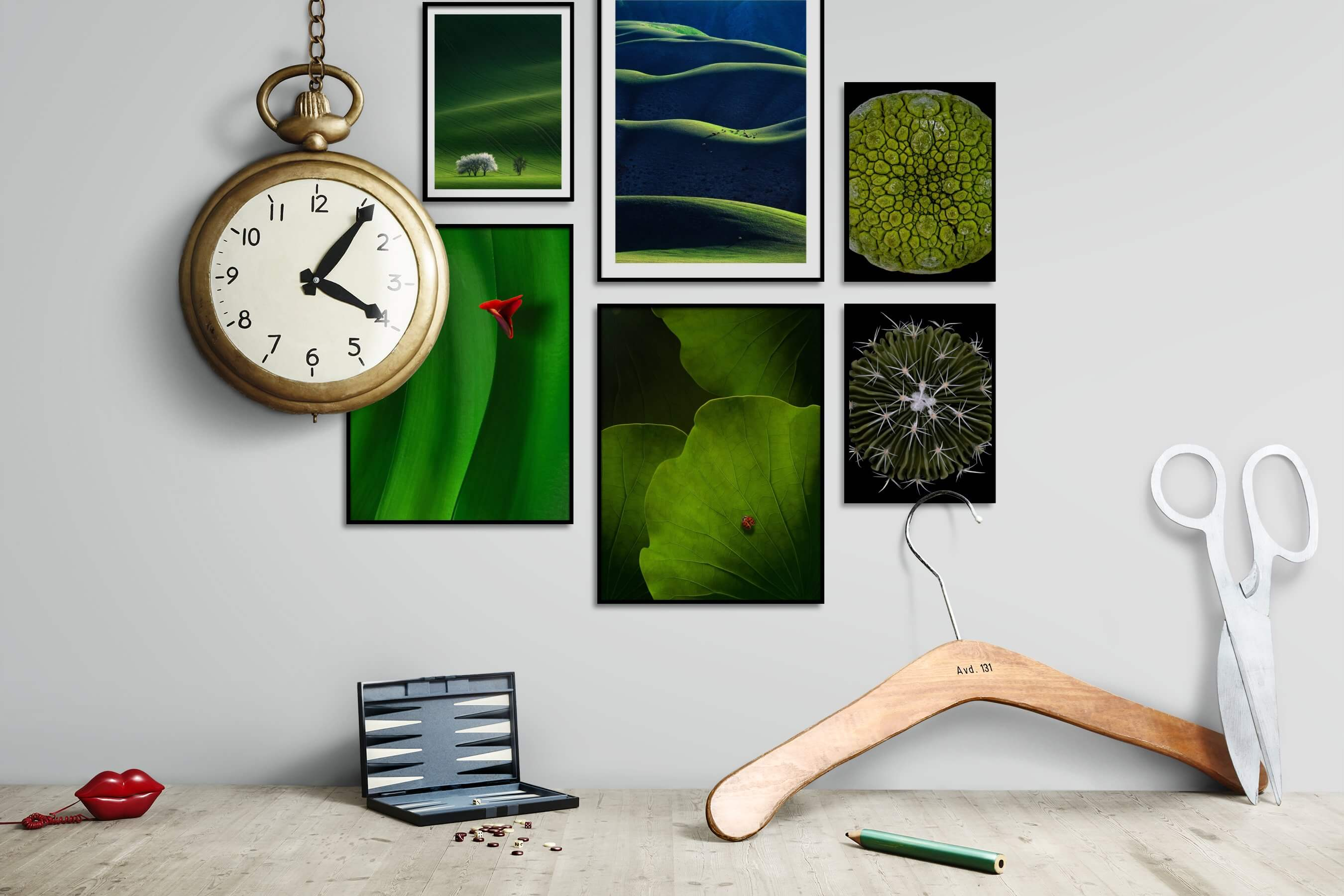 Gallery wall idea with six framed pictures arranged on a wall depicting For the Minimalist, Country Life, For the Moderate, Animals, Flowers & Plants, and Dark Tones