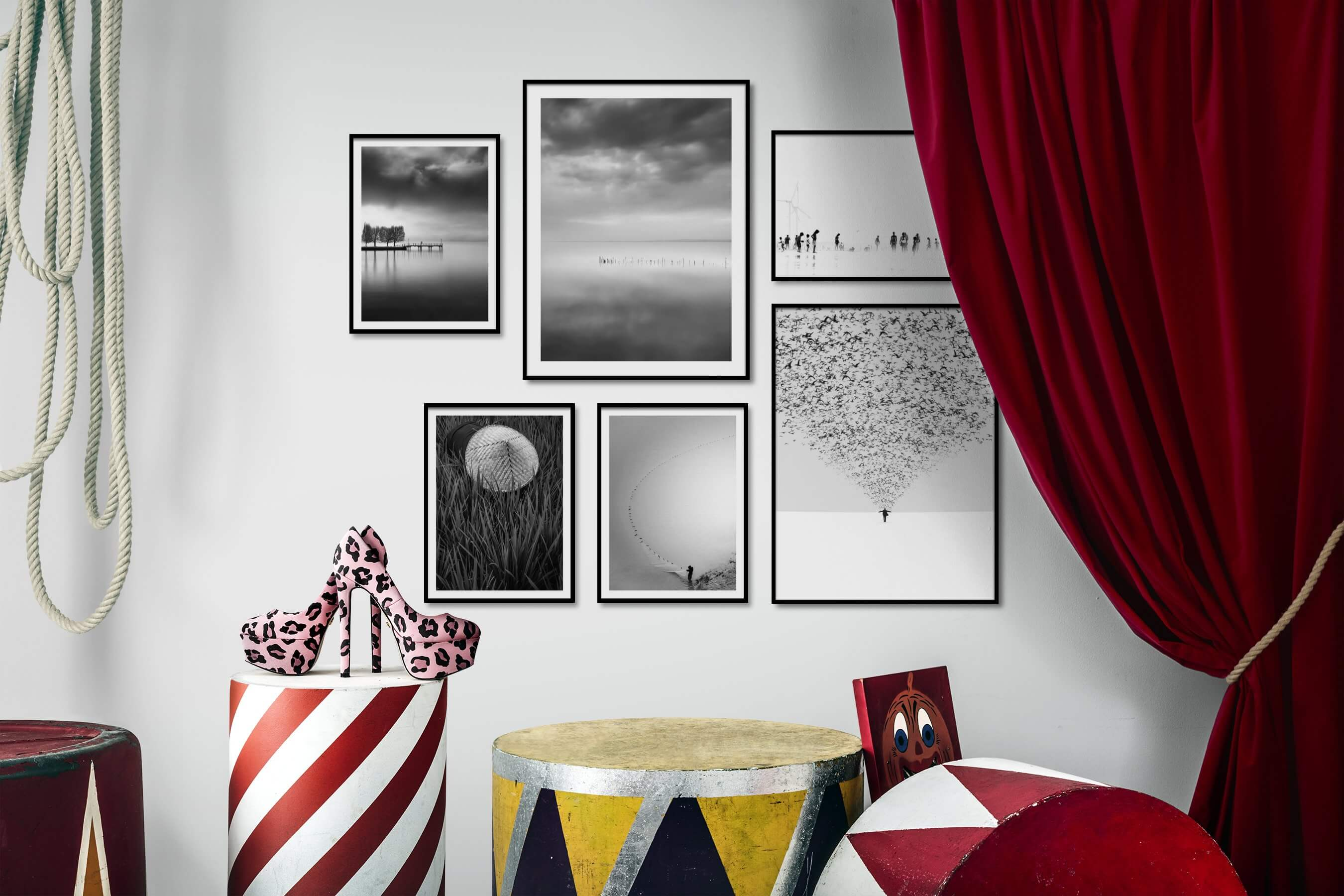 Gallery wall idea with six framed pictures arranged on a wall depicting Black & White, Beach & Water, Mindfulness, Country Life, For the Minimalist, Bright Tones, and Animals