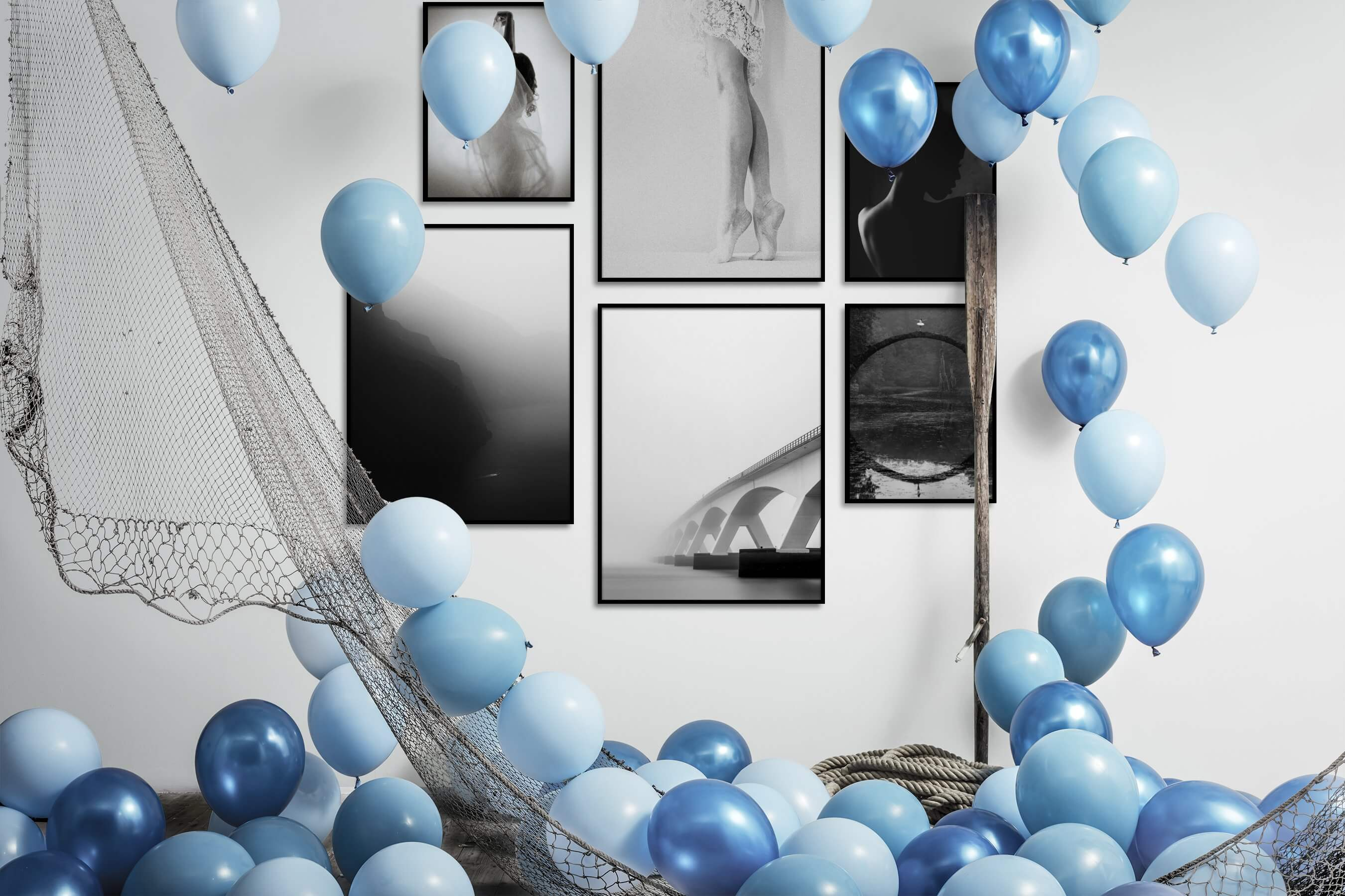 Gallery wall idea with six framed pictures arranged on a wall depicting Fashion & Beauty, Black & White, For the Moderate, Vintage, Nature, Mindfulness, Bright Tones, For the Minimalist, and Dark Tones