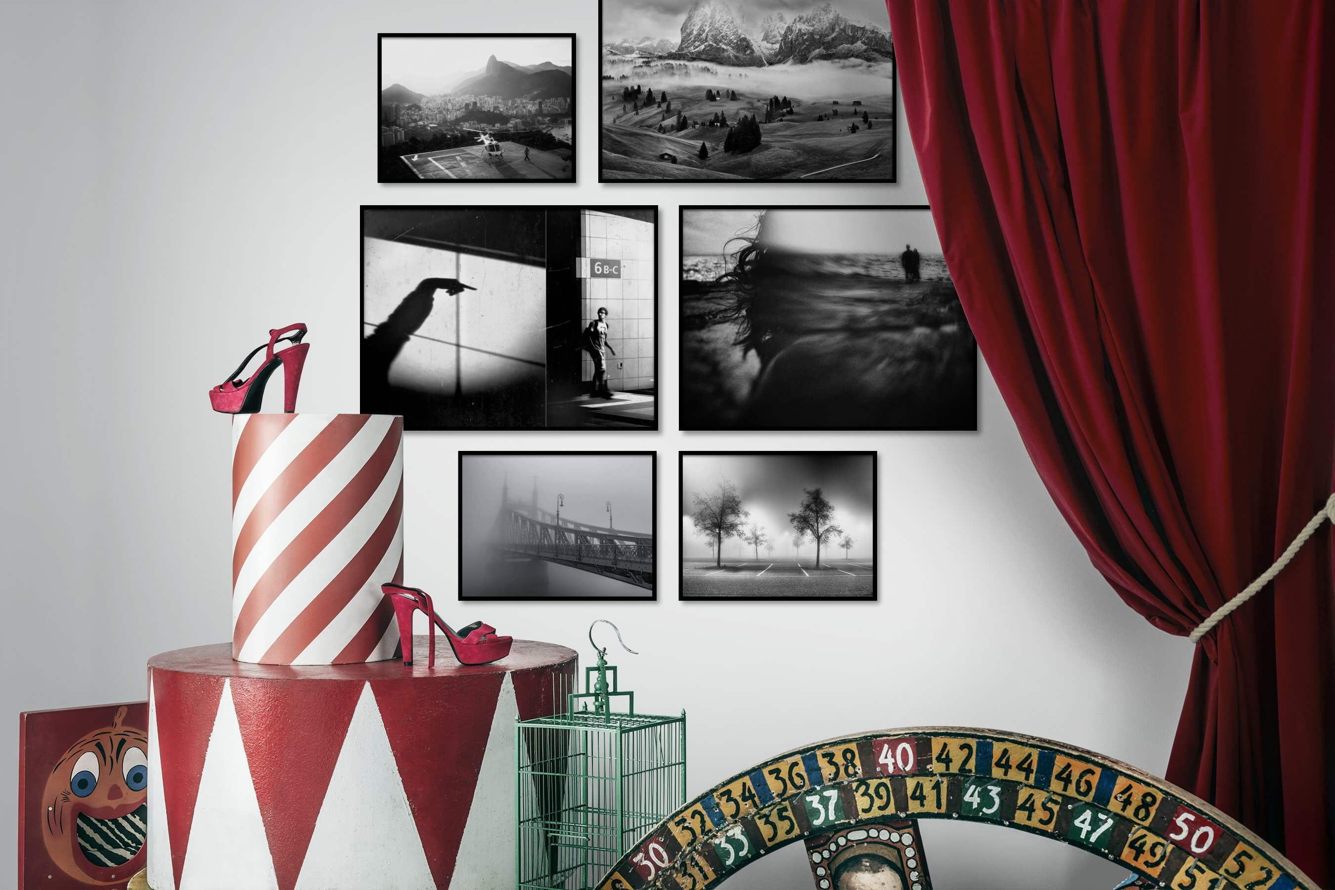 Gallery wall idea with six framed pictures arranged on a wall depicting Black & White, City Life, Nature, Artsy, and For the Moderate