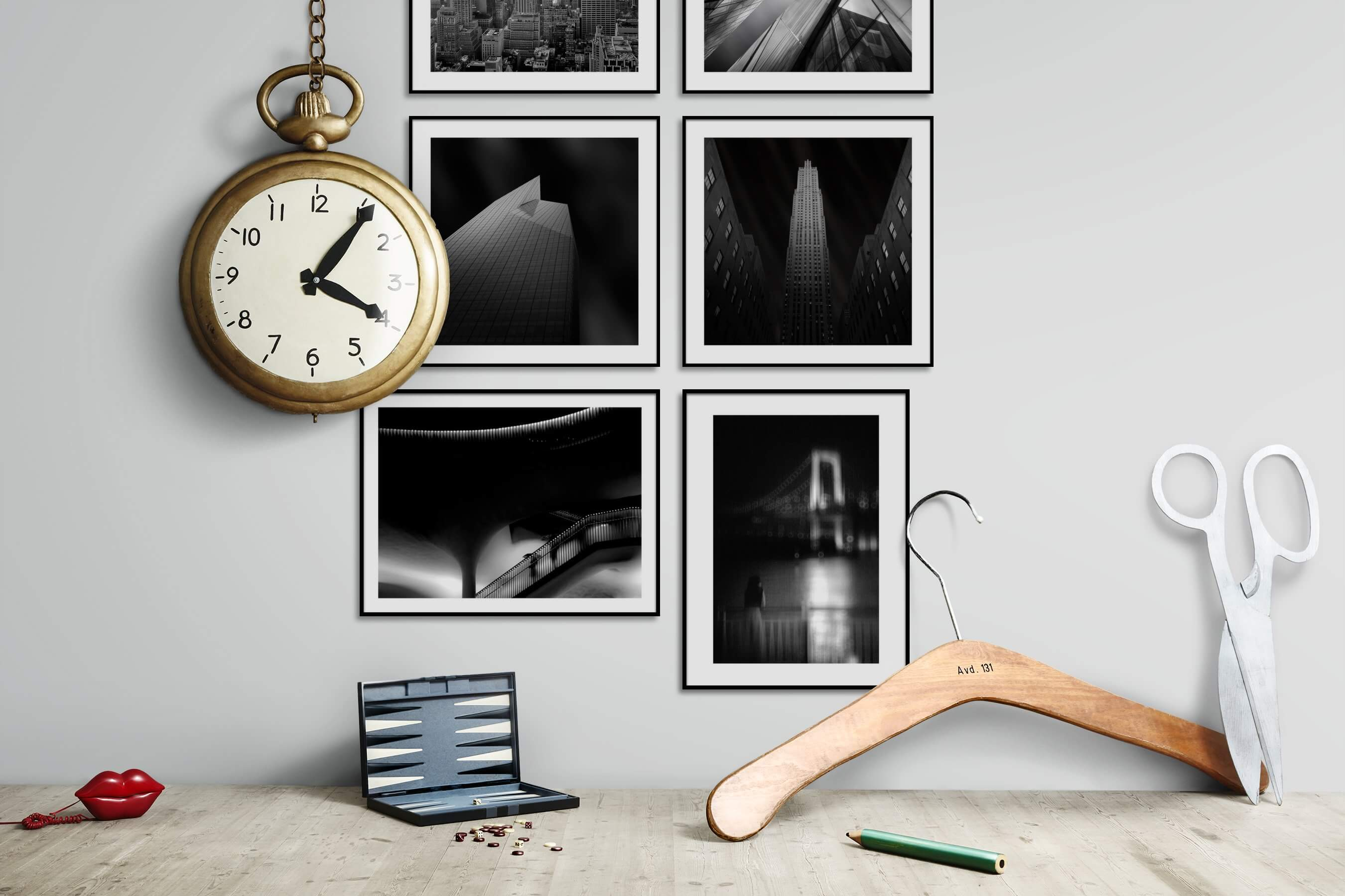 Gallery wall idea with six framed pictures arranged on a wall depicting Black & White, City Life, Americana, For the Moderate, and For the Minimalist