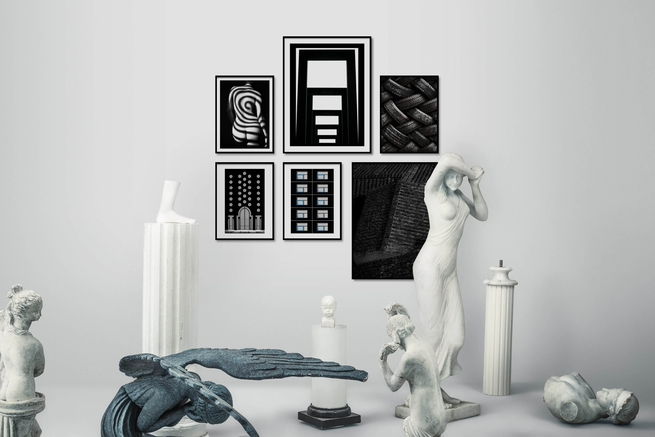 Gallery wall idea with six framed pictures arranged on a wall depicting Fashion & Beauty, Black & White, Dark Tones, For the Moderate, City Life, For the Minimalist, and For the Maximalist