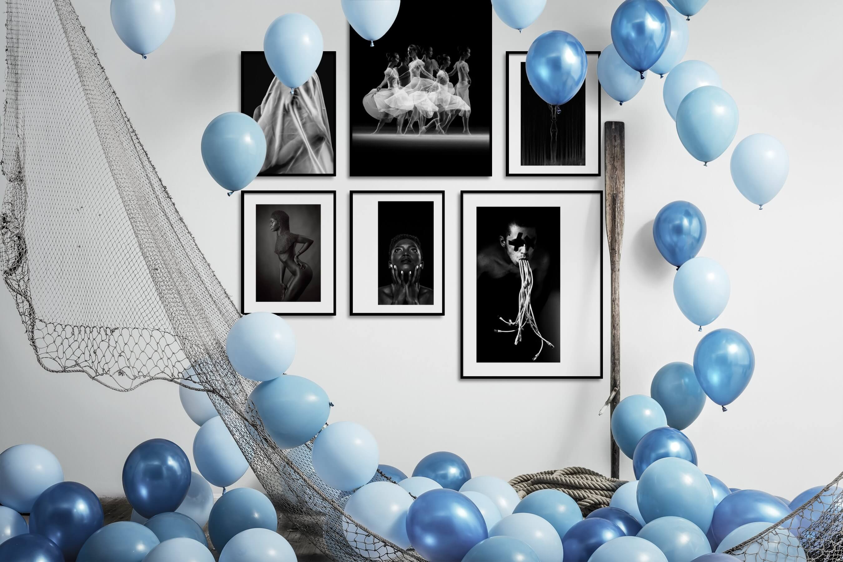 Gallery wall idea with six framed pictures arranged on a wall depicting Artsy, Black & White, Dark Tones, Fashion & Beauty, and For the Minimalist