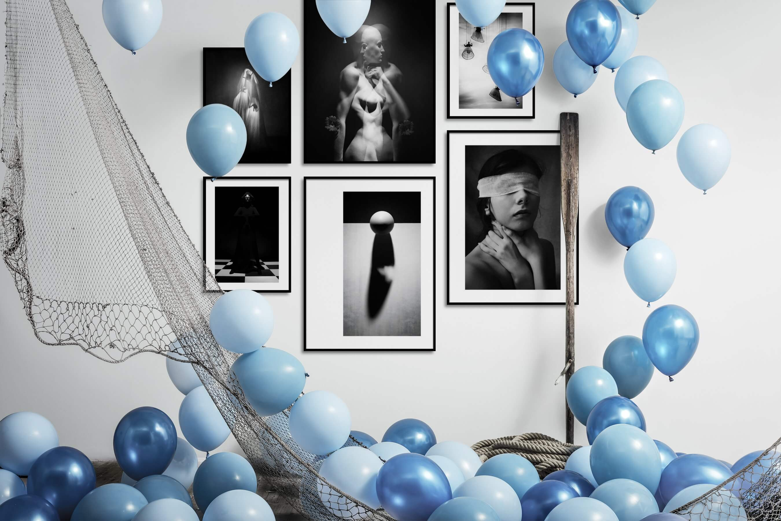Gallery wall idea with six framed pictures arranged on a wall depicting Artsy, Black & White, Dark Tones, For the Minimalist, Bold, and For the Moderate